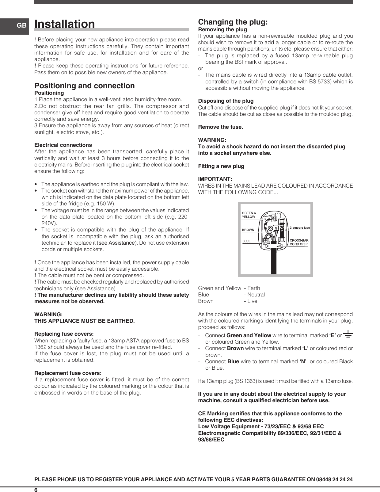 Indesit Dbiaa344f Uk Operating Instructions Wiring Colours Red Page 6 Of 12