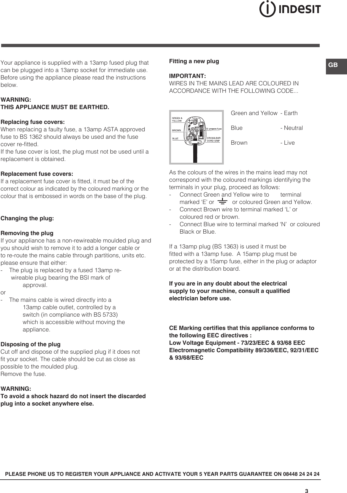 Indesit Freezer Ca 55 Xx Uk Users Manual Plug Furthermore How To Wire 240v Outlet Also Wikipedia Power Plugs Page 3 Of 12