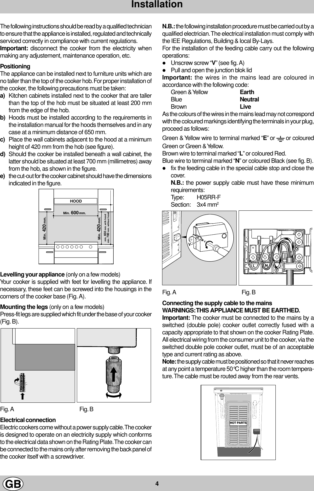 Indesit K3E1 G Instructions For Installation And Use 02611805