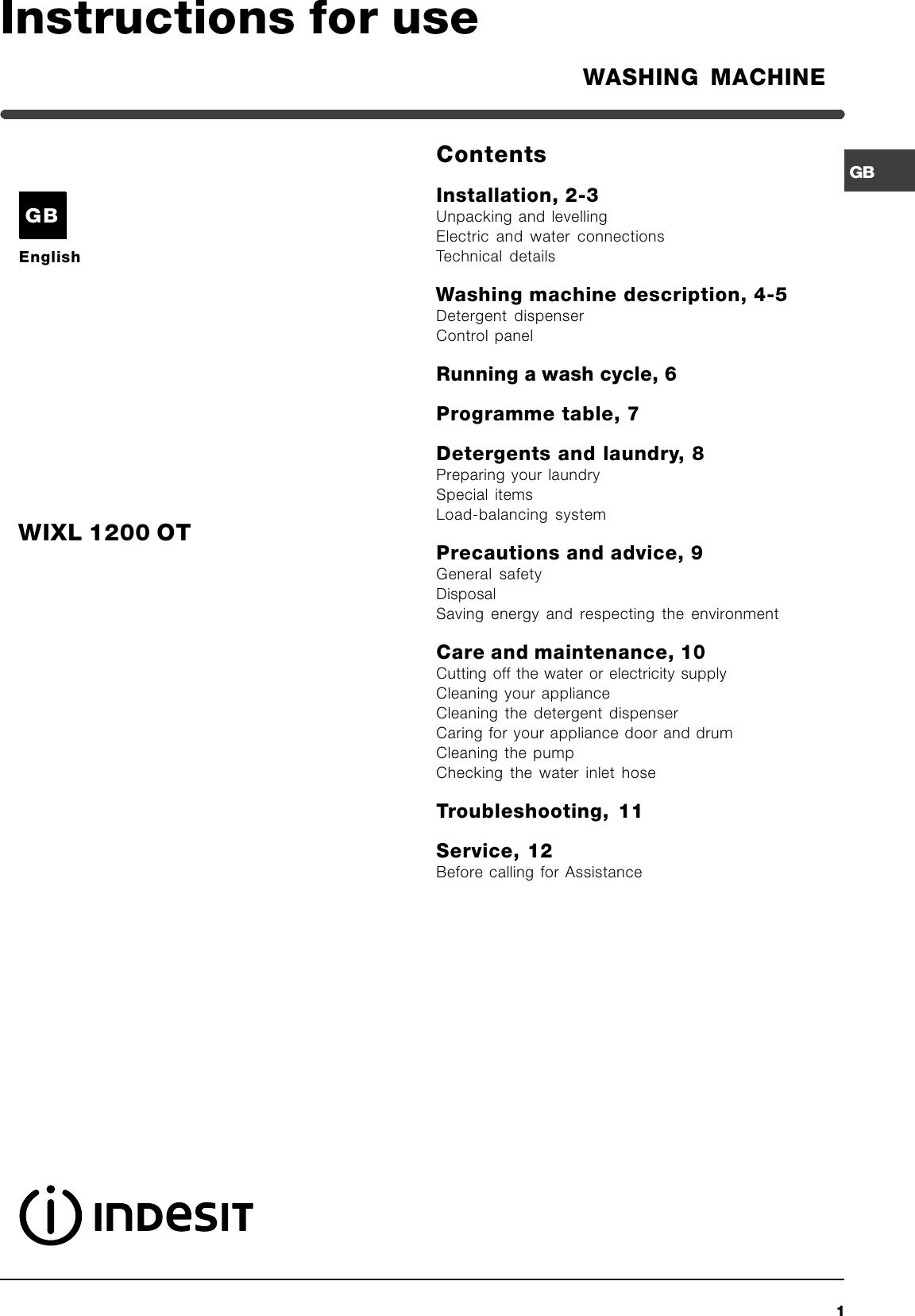Indesit Washing Machine Wixl 1200 Ot Instruction Manual GB_WIXL ...