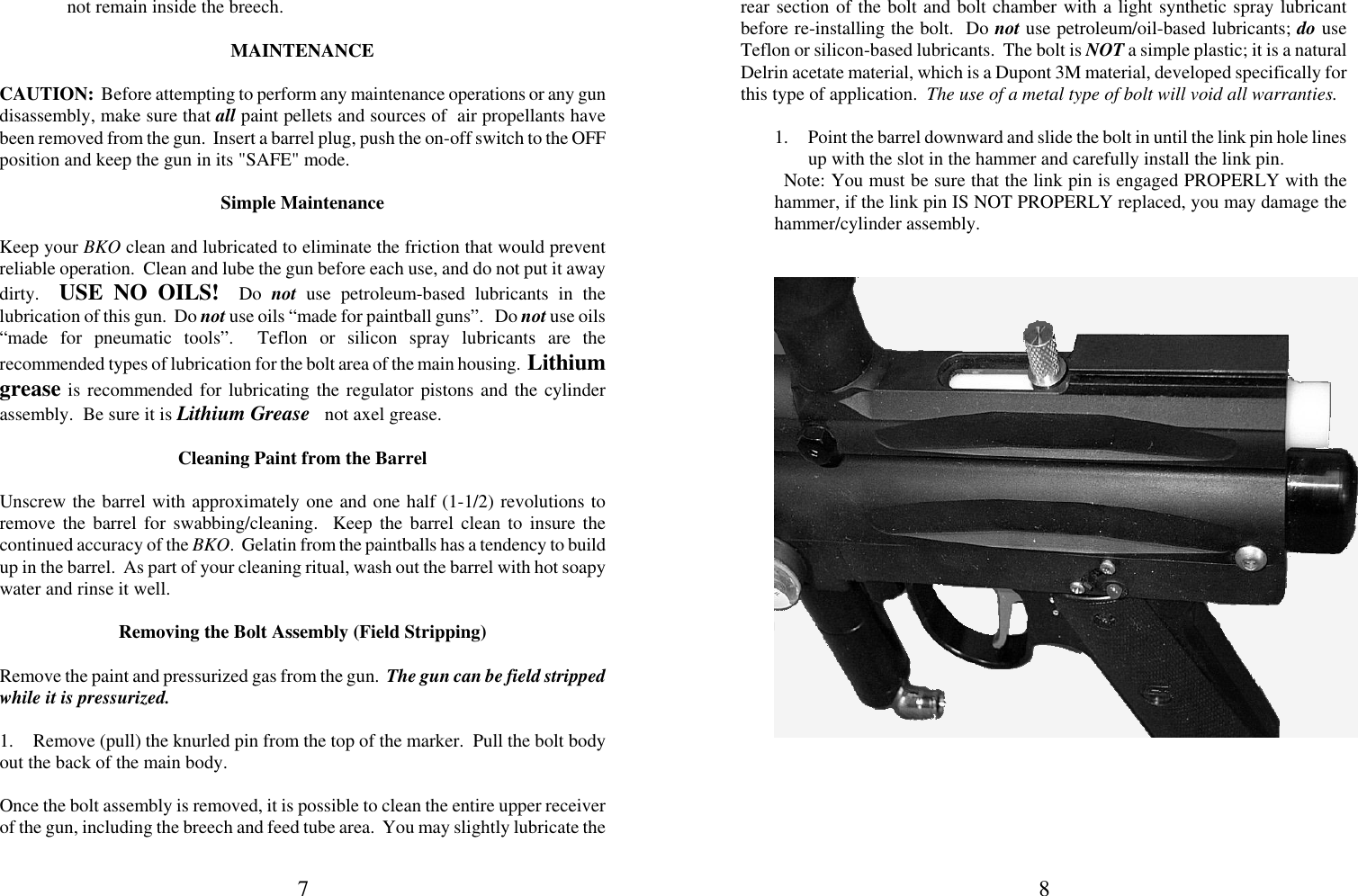 Indian Creek Bko 2003 Users Manual INSTRUCTION