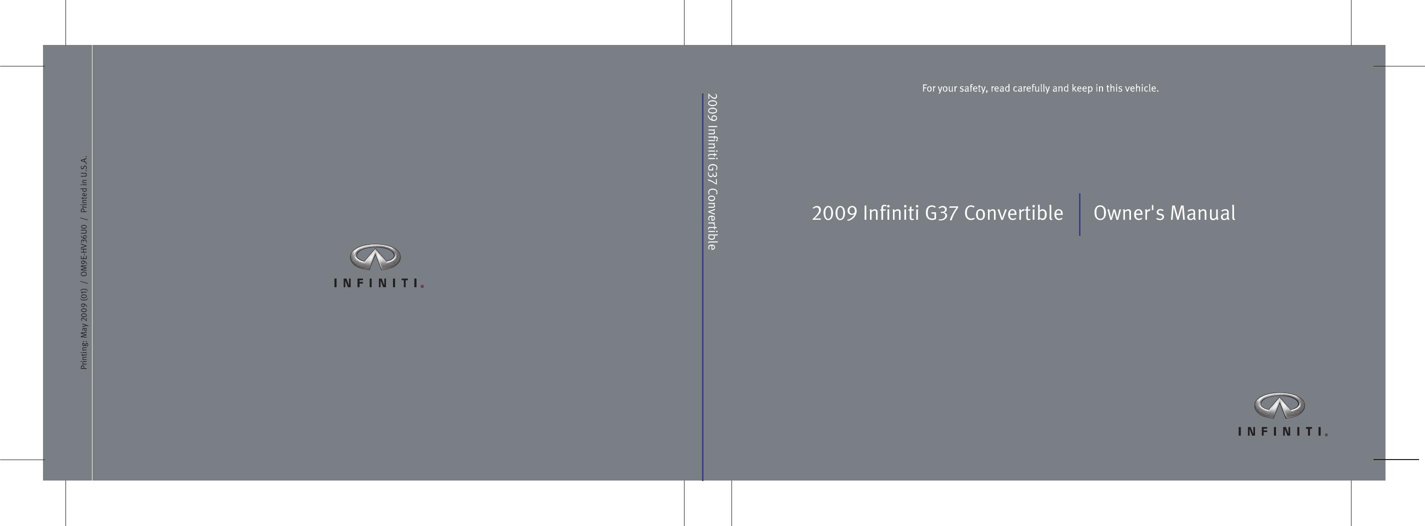 Infiniti 2009 G37 Convertible Owners Manual Owner's