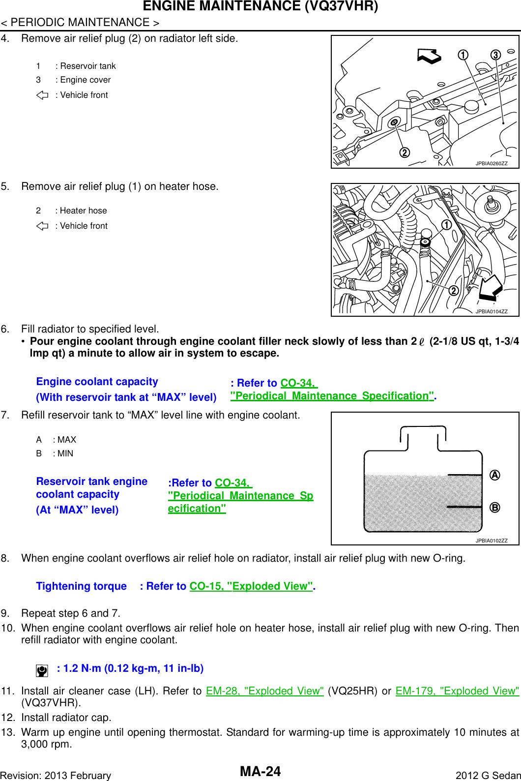 Infiniti 2012 G37 Maintenance Manual Config(MA)