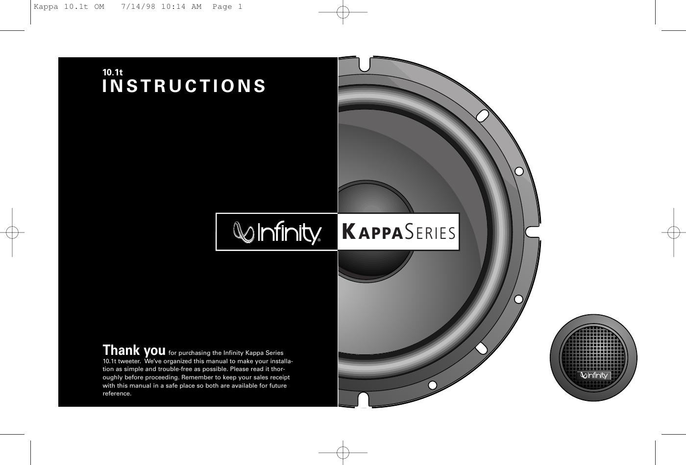 kupować nowe niezawodna jakość konkurencyjna cena Infinity 10 1T Tweeter Kappa Series Users Manual 10.1t OM