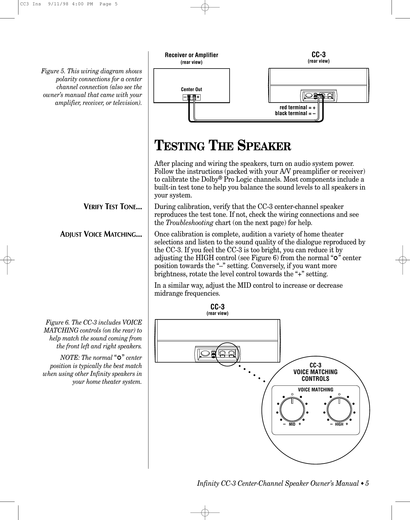 Infinity Speaker Cc 3 Users Manual Cc3 Ins Center Channel Wiring Diagram Page 6 Of 10