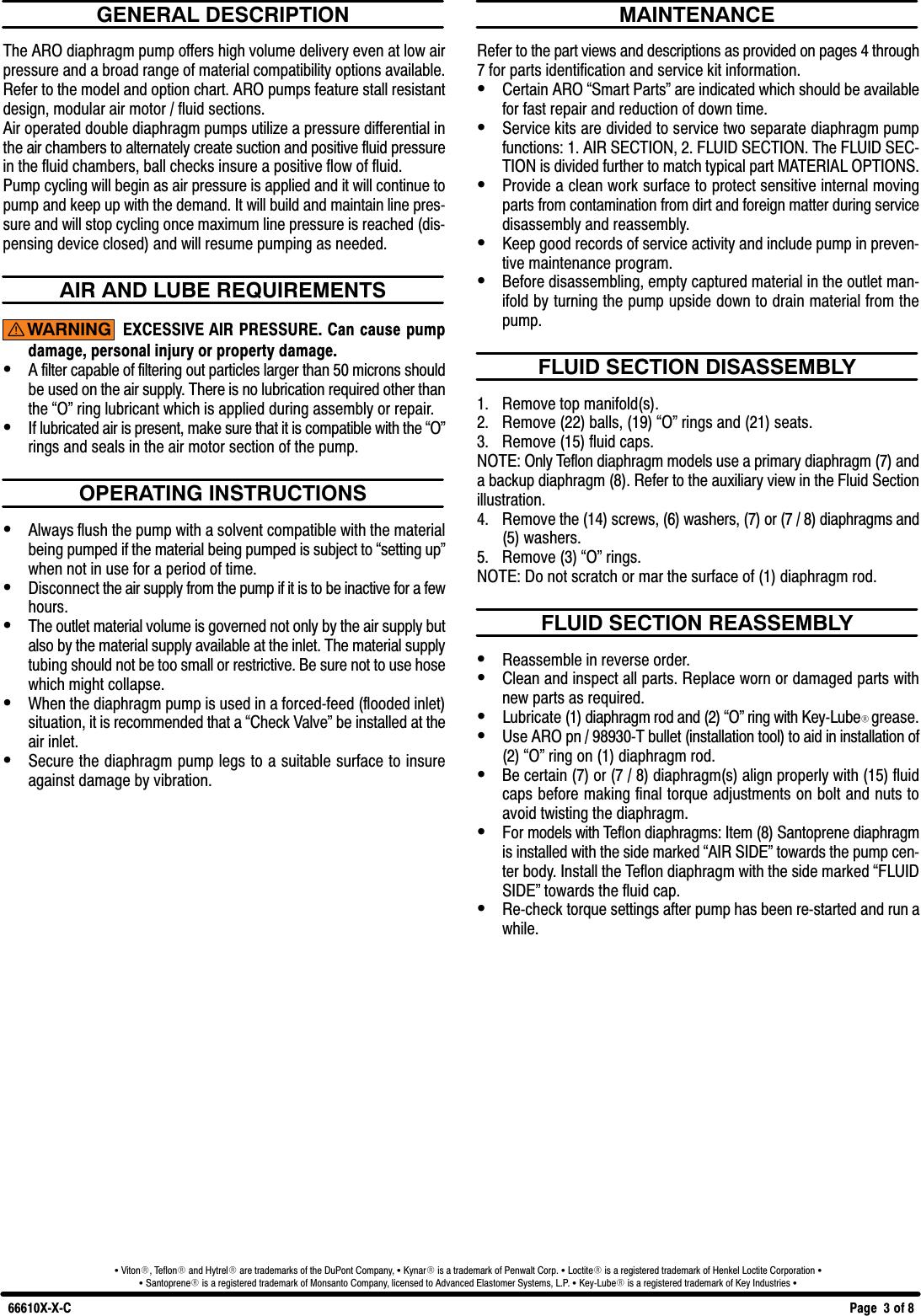 Ingersoll Rand Diaphragm Pump 66610X X C Users Manual 66610X(w)