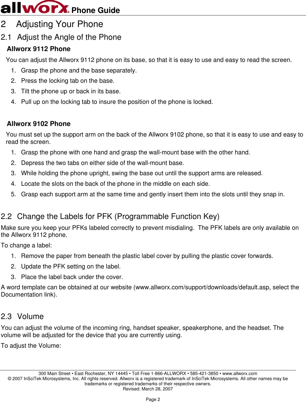 Inscitek Microsystems Allworx Phone Users Manual Allworx®