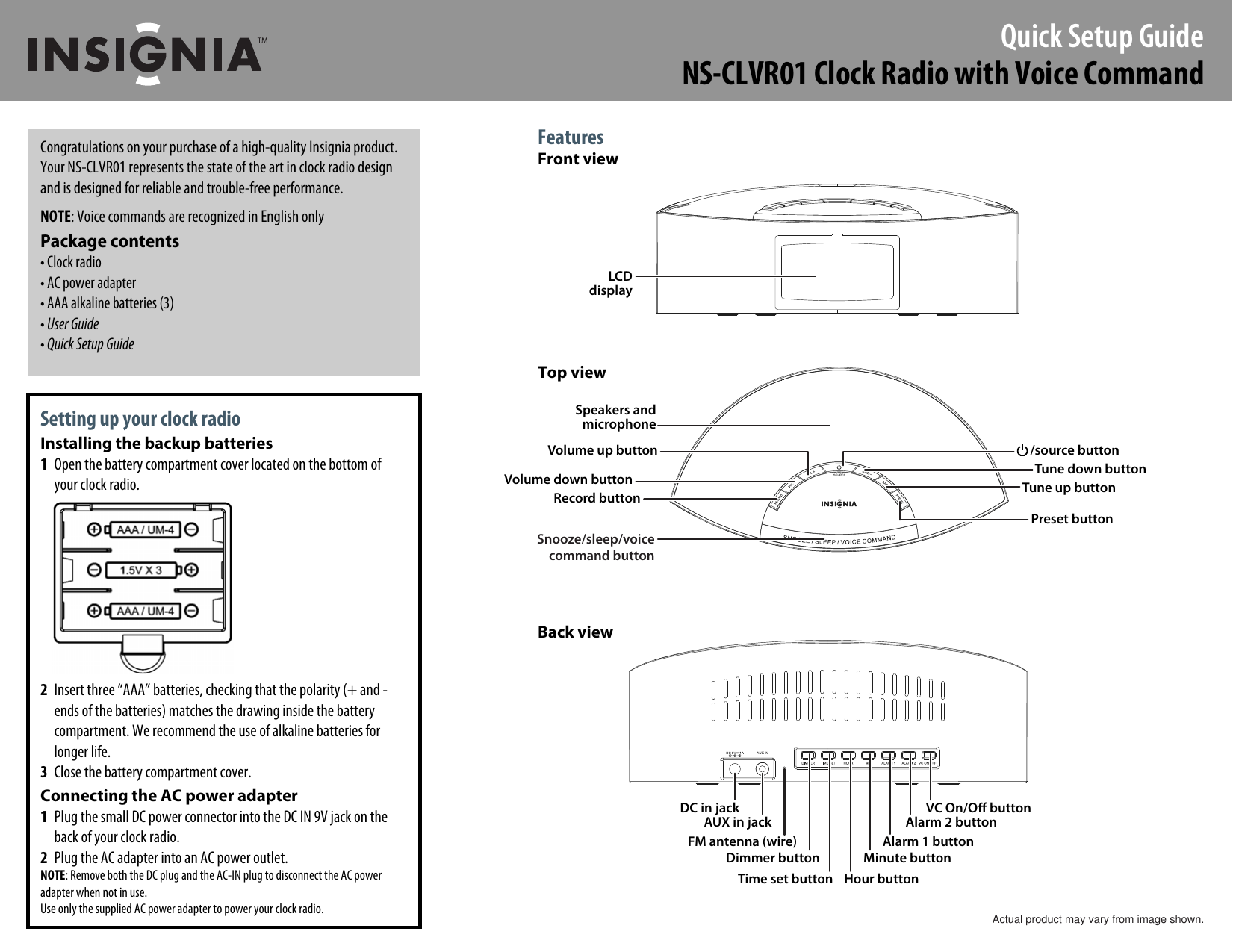 Insignia Ns Clvr01 Users Manual 10 0131 Qsg V2 En Up Down Timer For A Power Antenna