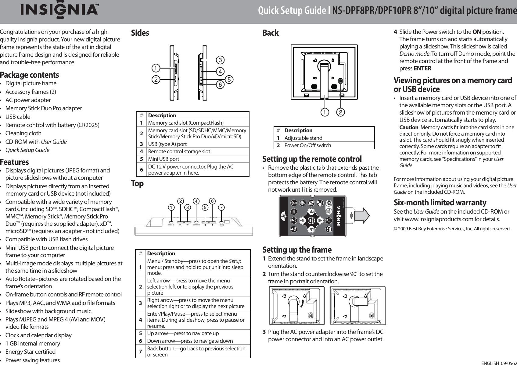 Insignia Ns Dpf10Pr Users Manual DPF8PR DPF10PR_09 0562_QSG_V1_EN