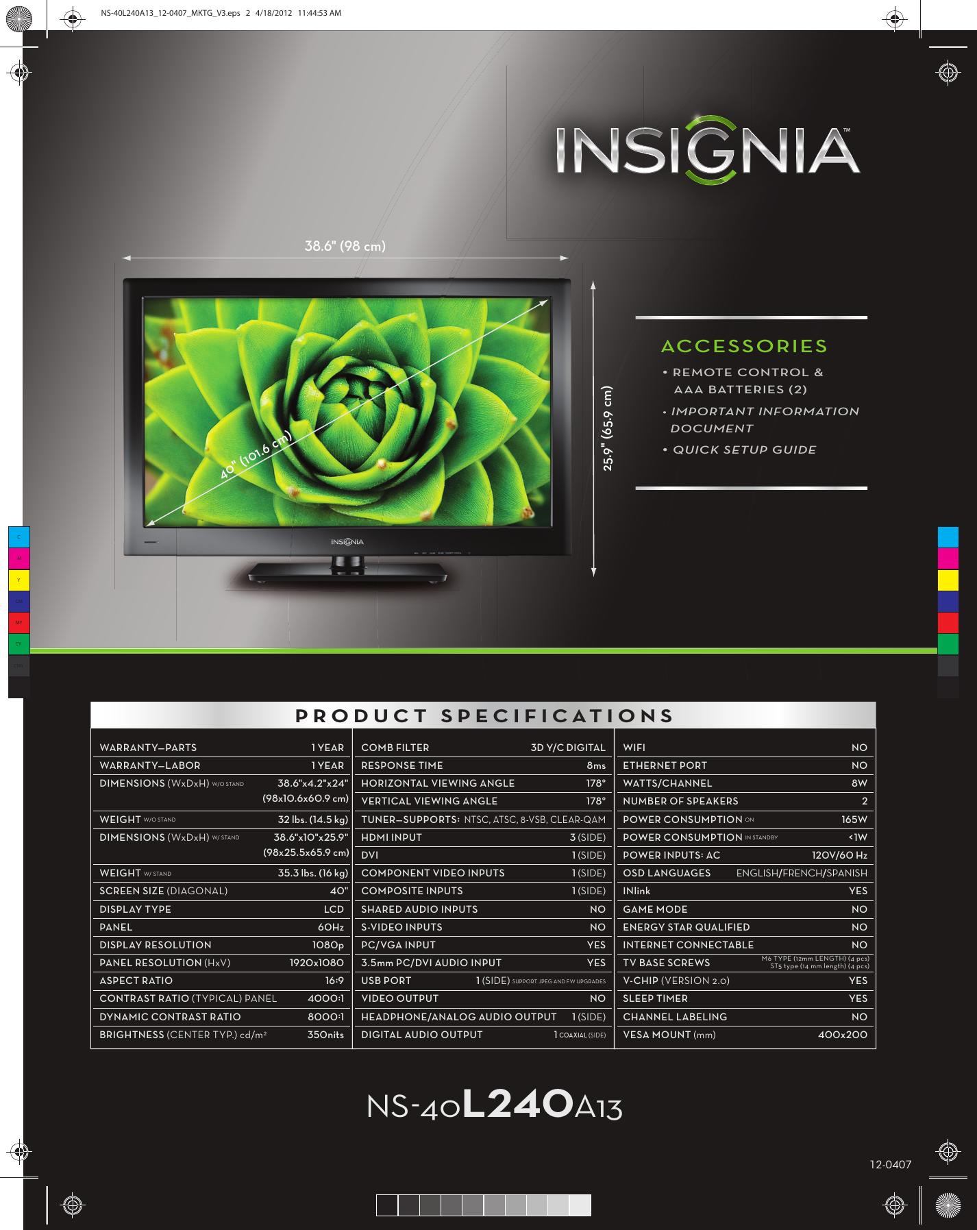 Insignia NS 40L240A13 40L240A13_12 0407_MKTG_V3 User Manual