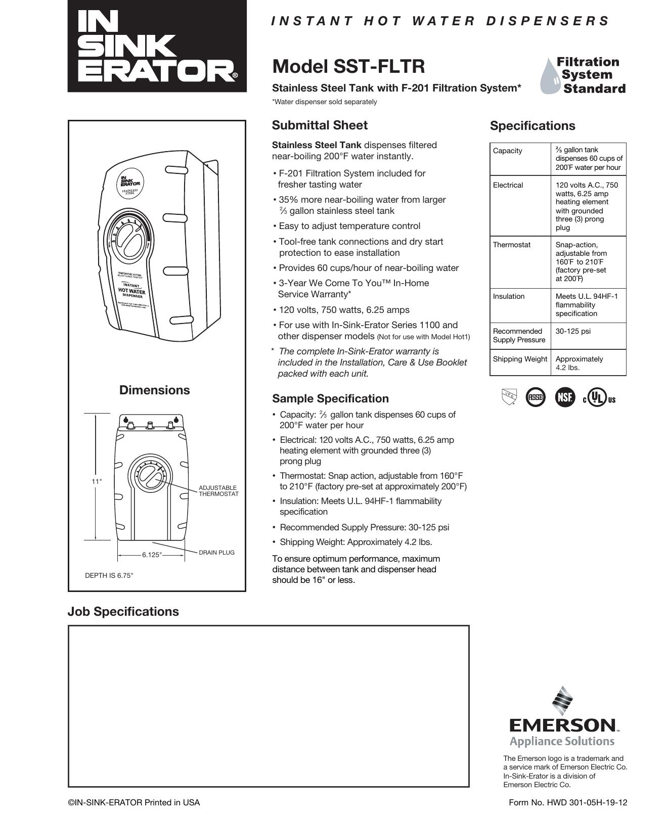Insinkerator Sst Fltr Users Manual