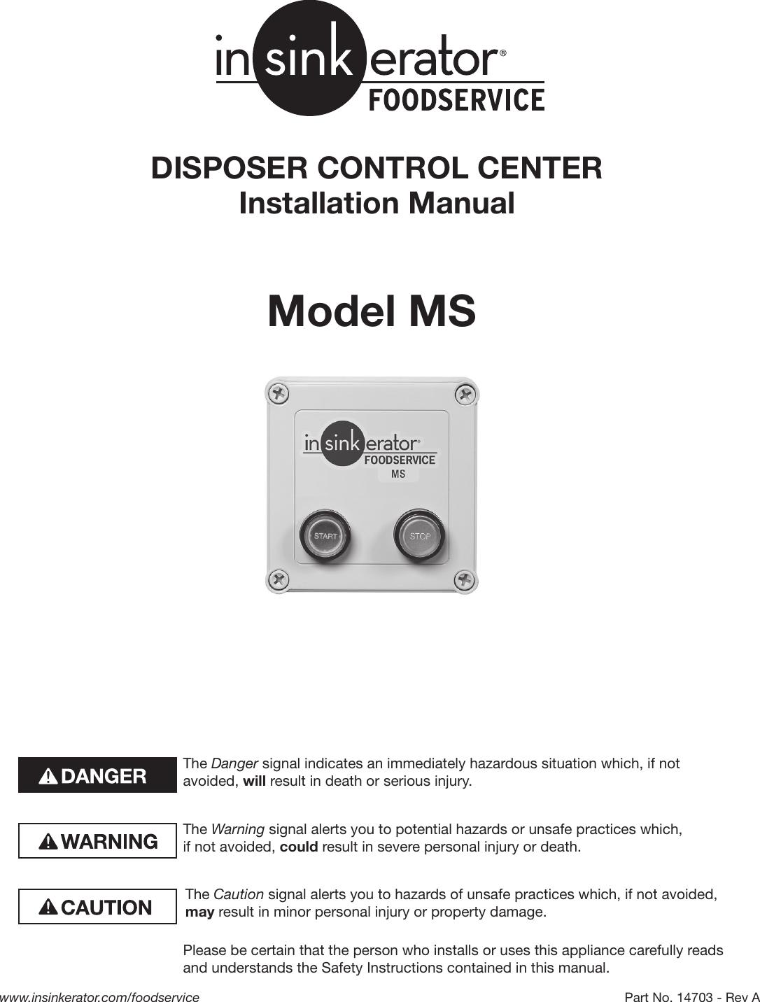 Insinkerator Ms Users Manual MS_ICU_