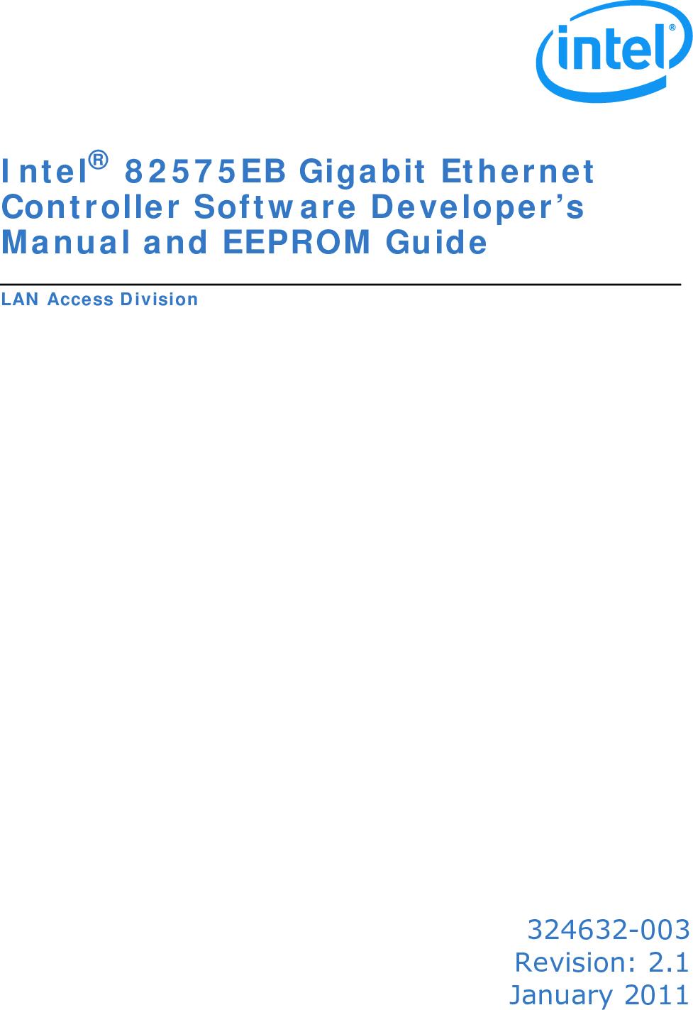 Intel 324632 003 Intel® 82575EB Gigabit Ethernet Controller