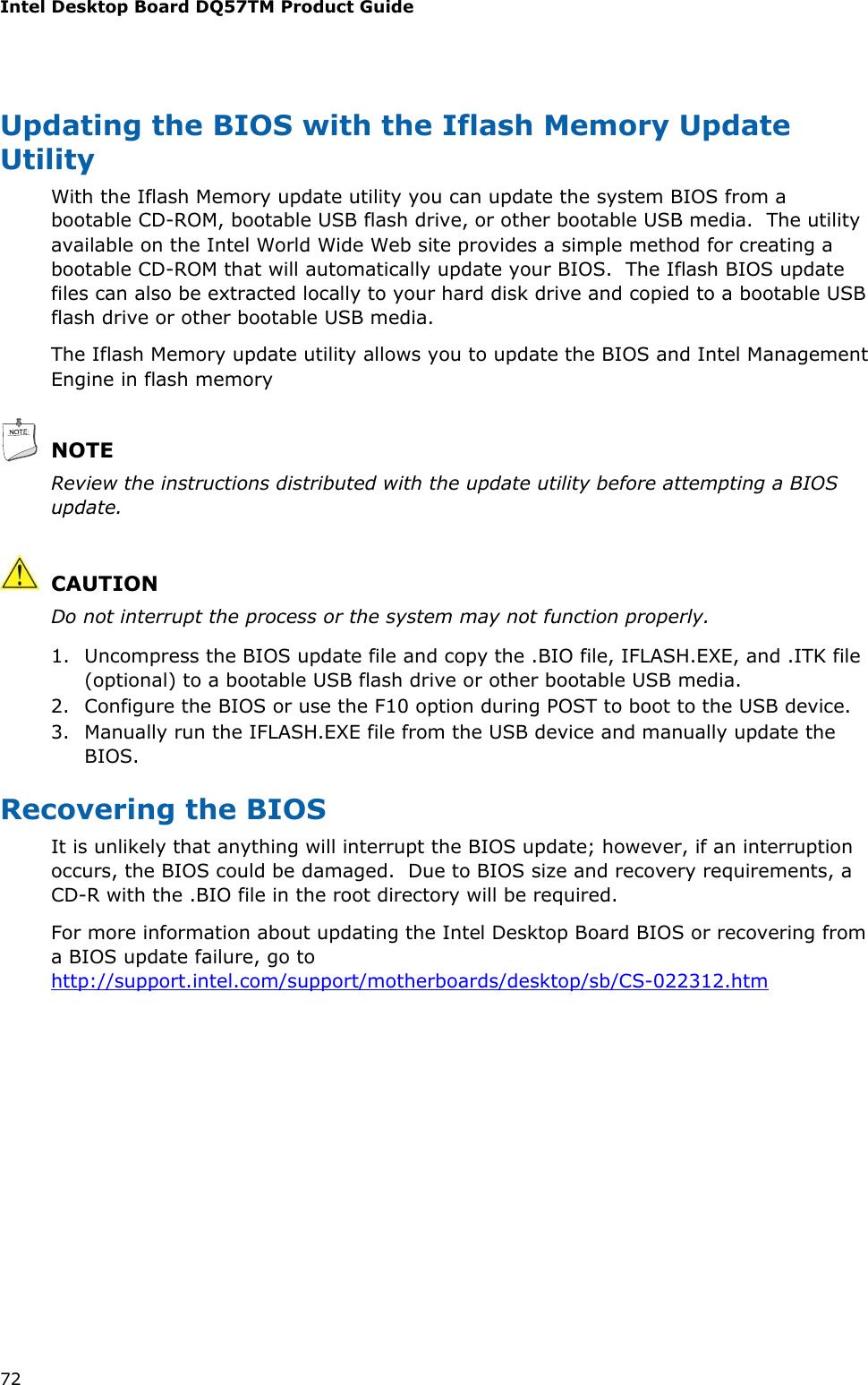 Intel Dq57Tm Users Manual Intel® Desktop Board Product Guide