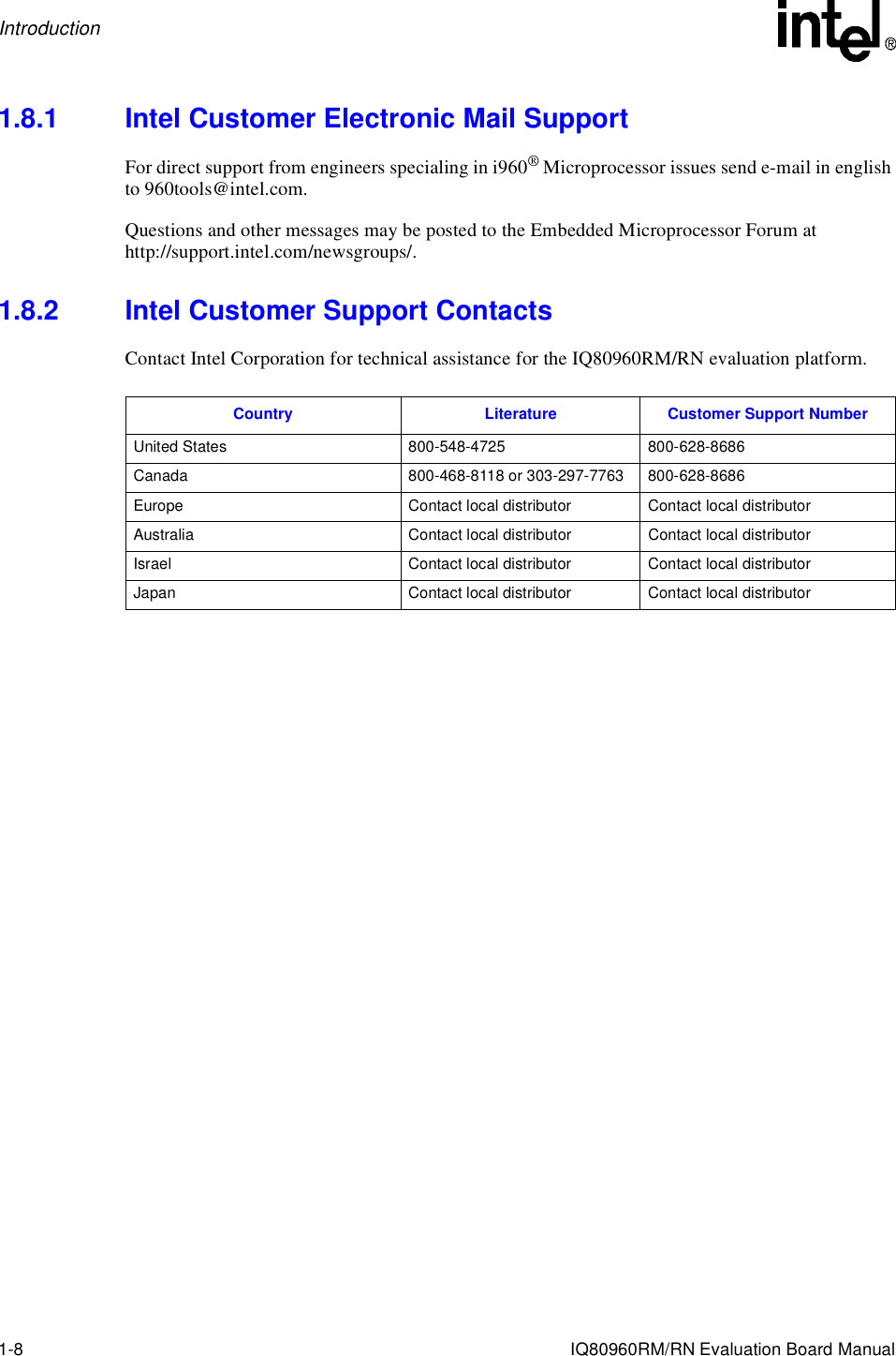 Intel Evaluation Platform Board Manual Iq80960Rm Users