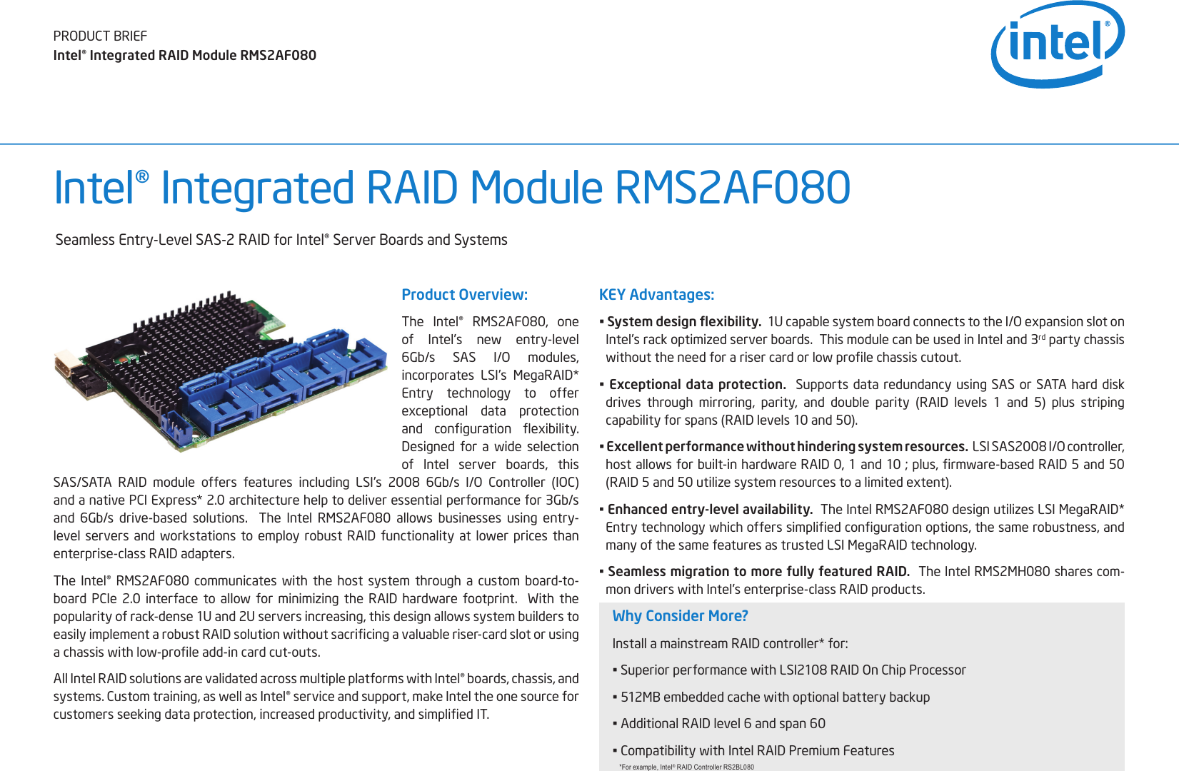 Intel 8 Port Sas Raid Controller Axxrms2Af080 Users Manual
