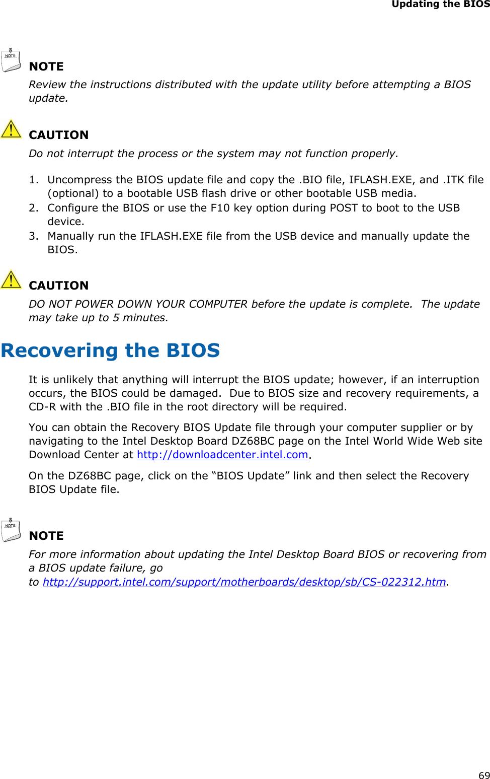Intel Dz68Bc Desktop Motherboard Blkdz68Bc Users Manual