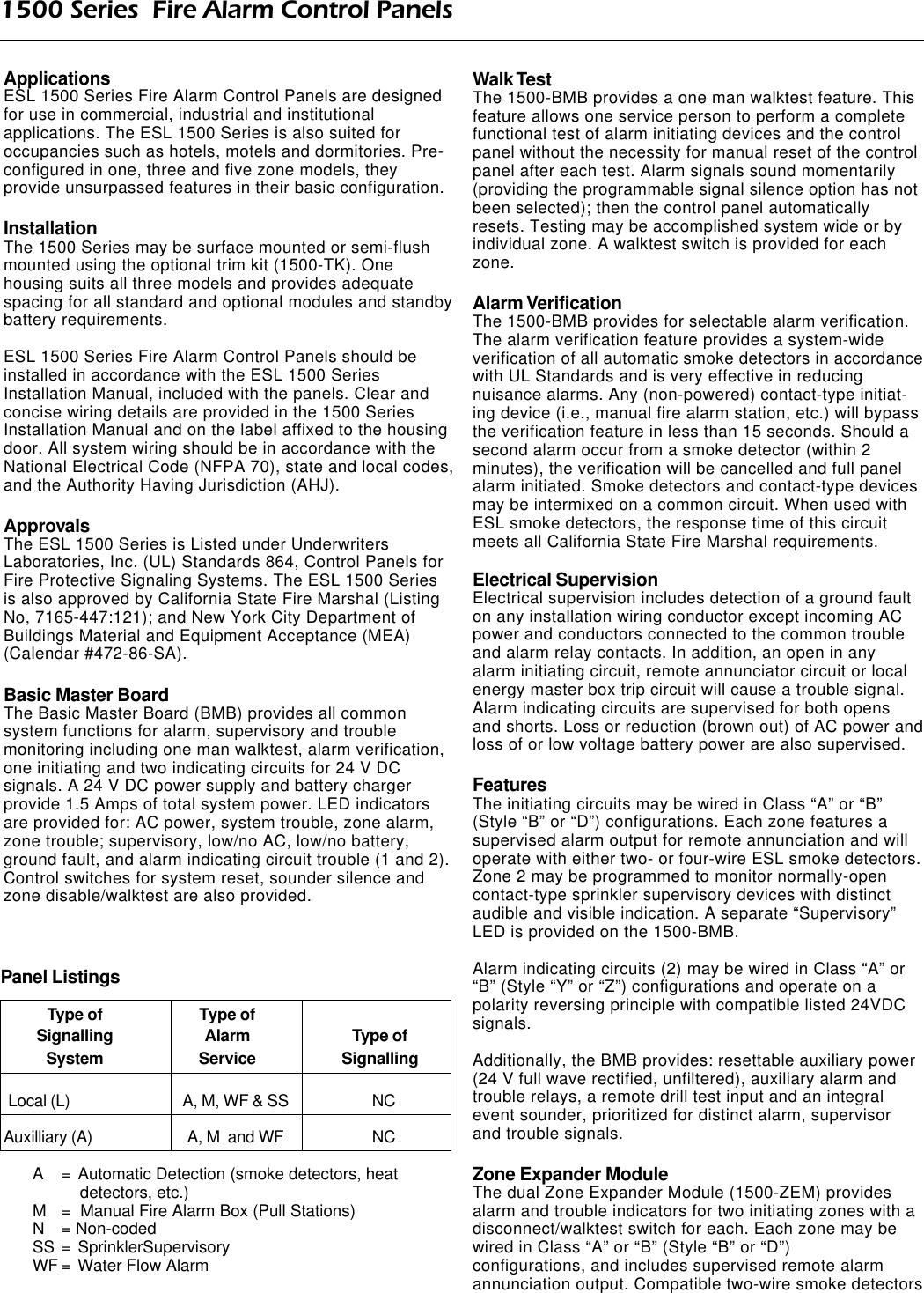 ESL 1500 Series Fire Alarm Control Panel Data Sheet 2001