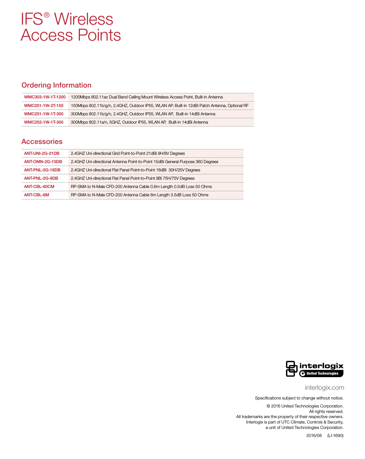 InterLogix Li 1690 Ifs Wireless Access Ds Web Data Sheet M5