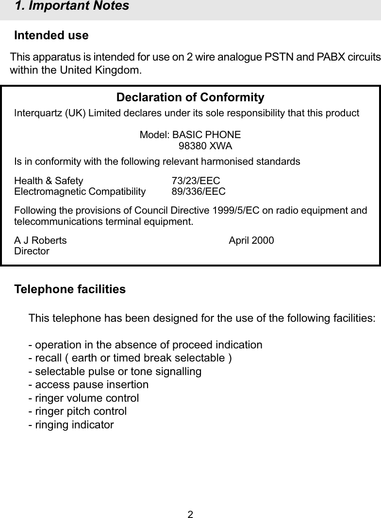 Interquartz Basic Phone 98380 Users Manual A9380r154 3c3801012rxwab12 Telephone Status Indicator Circuit Page 3 Of 12
