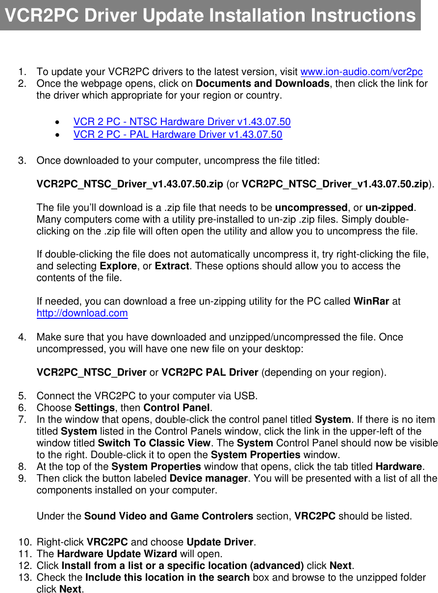 Ion Vcr 2 Pc Installation Instructions VCR2PC Driver Update