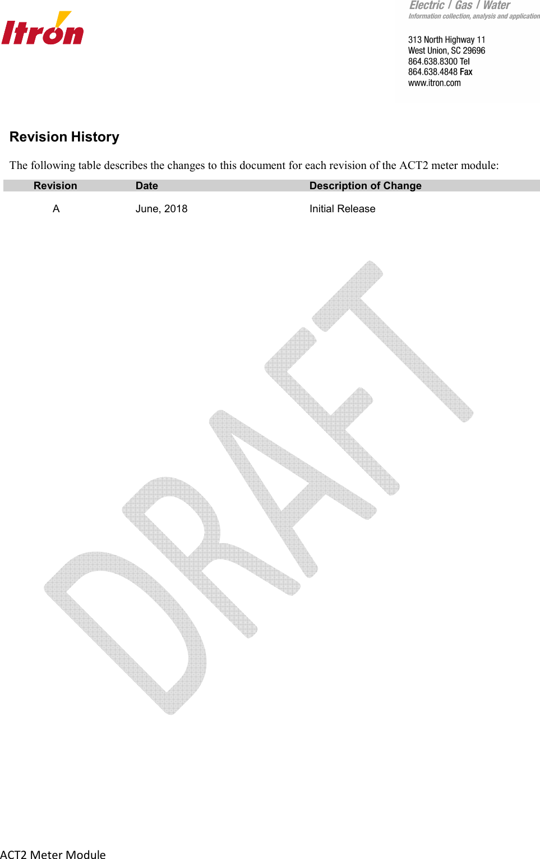 Itron ACT2 RIVA HW 4 1 meter module User Manual Manual ACT2 x