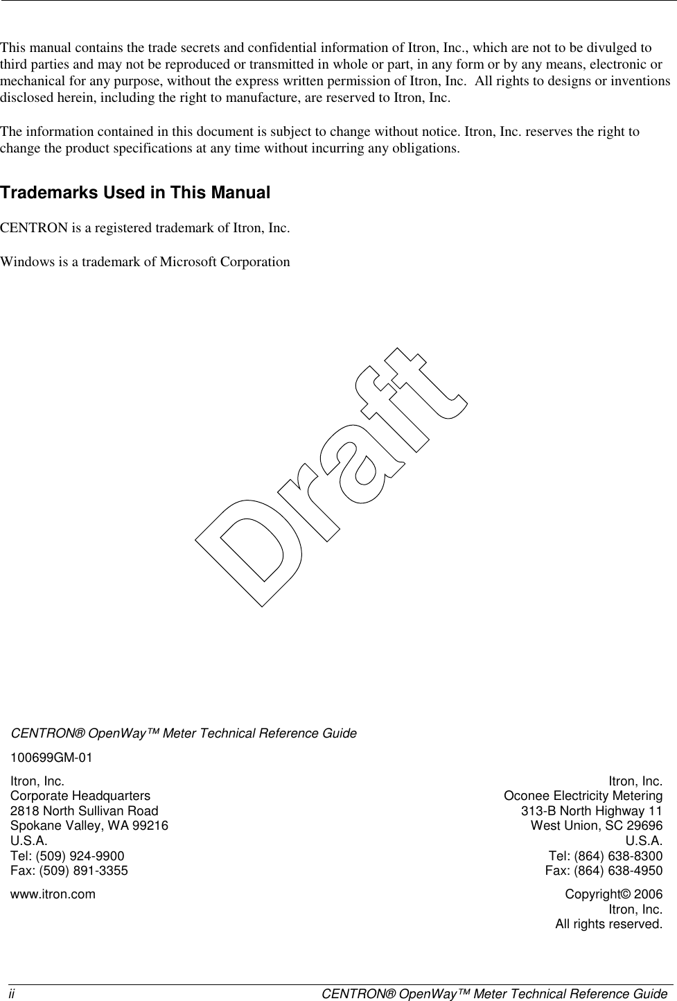 Itron AMI-2 CENTRON OPENWAY ELECTRICITY METER User Manual USERS MANUAL