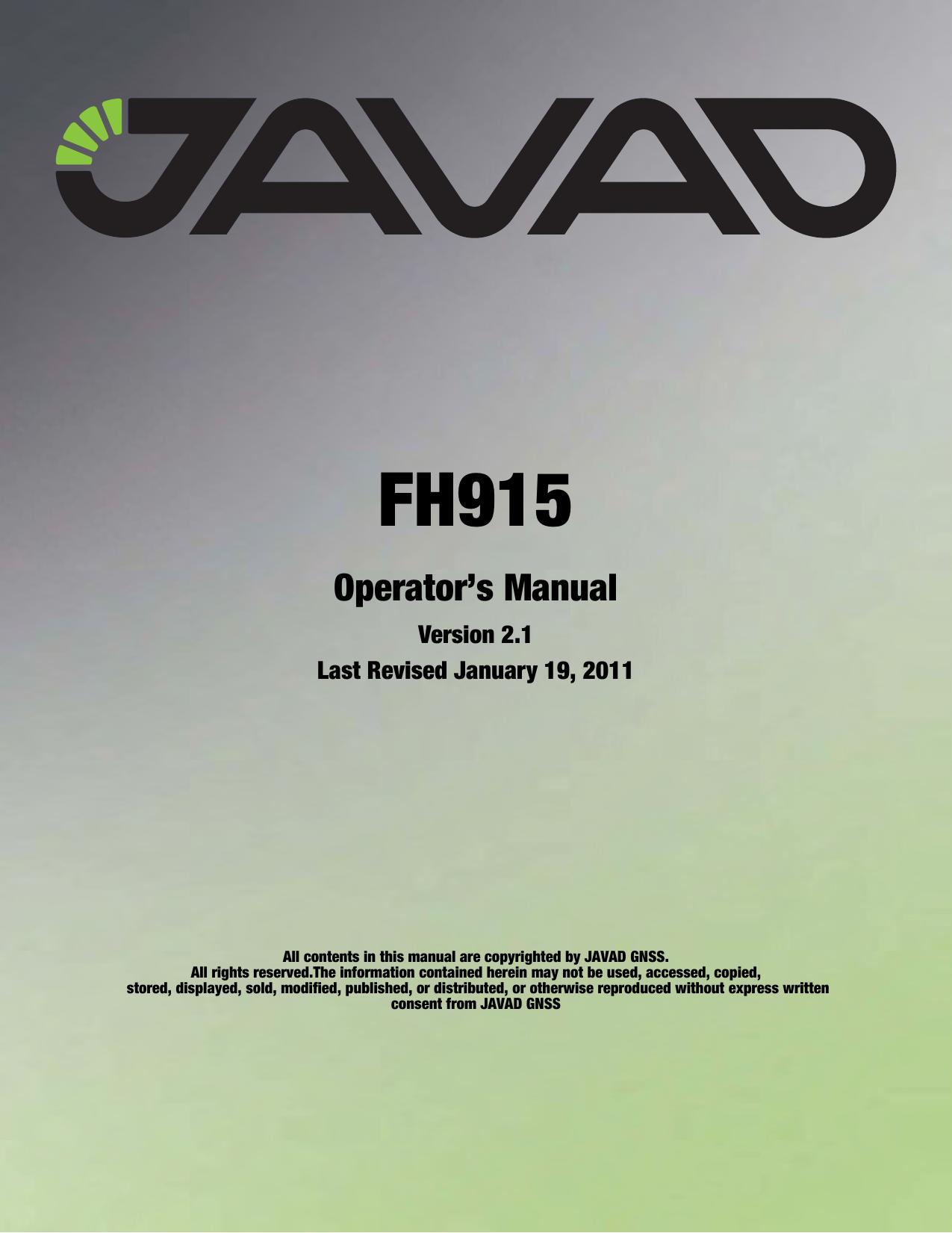 JAVAD GNSS FH915 FH915 Radio Module User Manual JAVAD GNSS