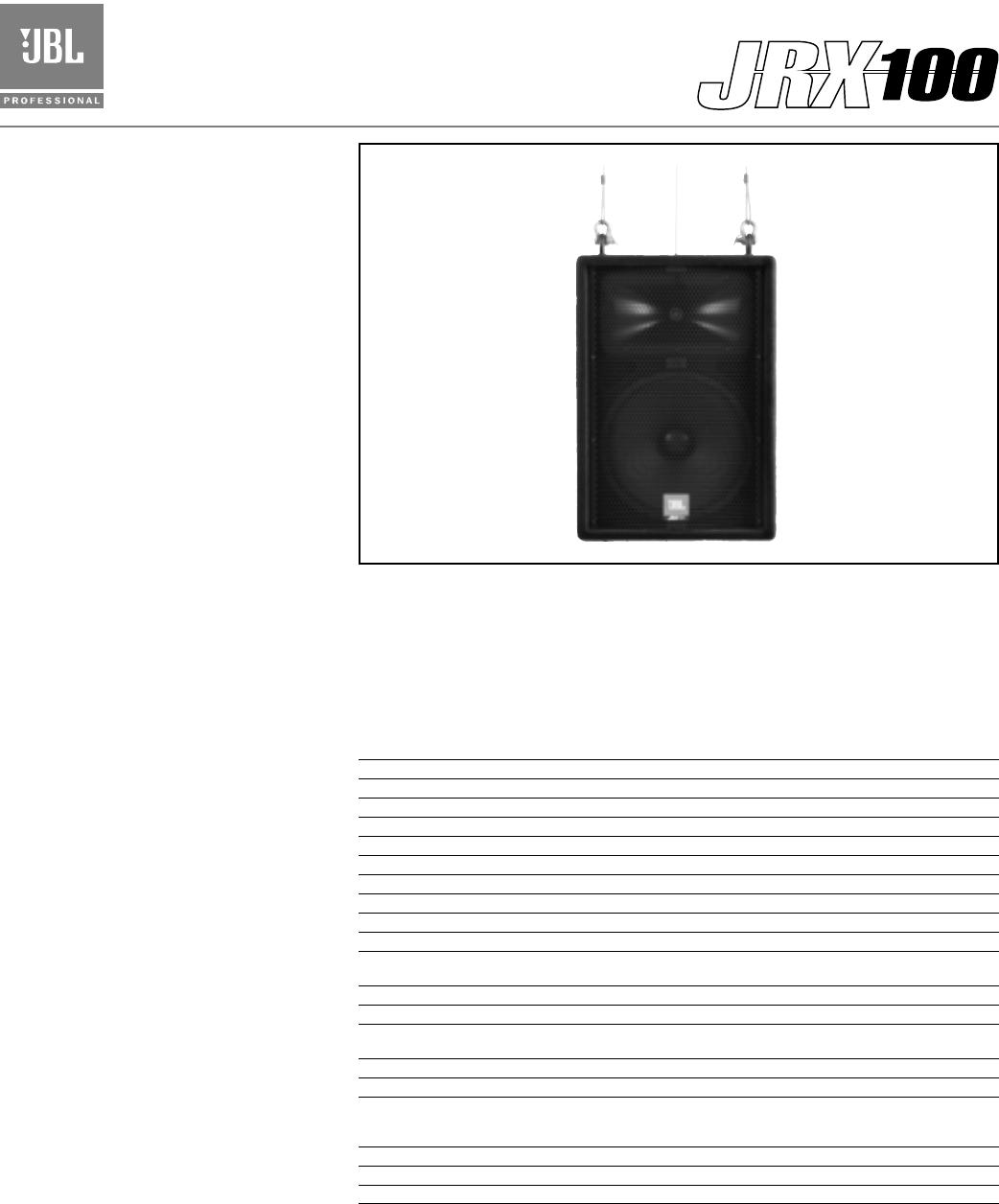 JBL JRX112MI Specsheet on