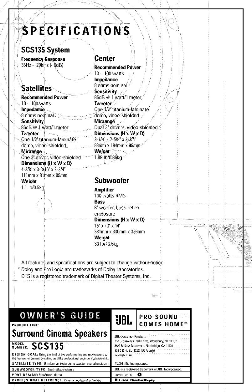 JBL Speakers Manual L0311130