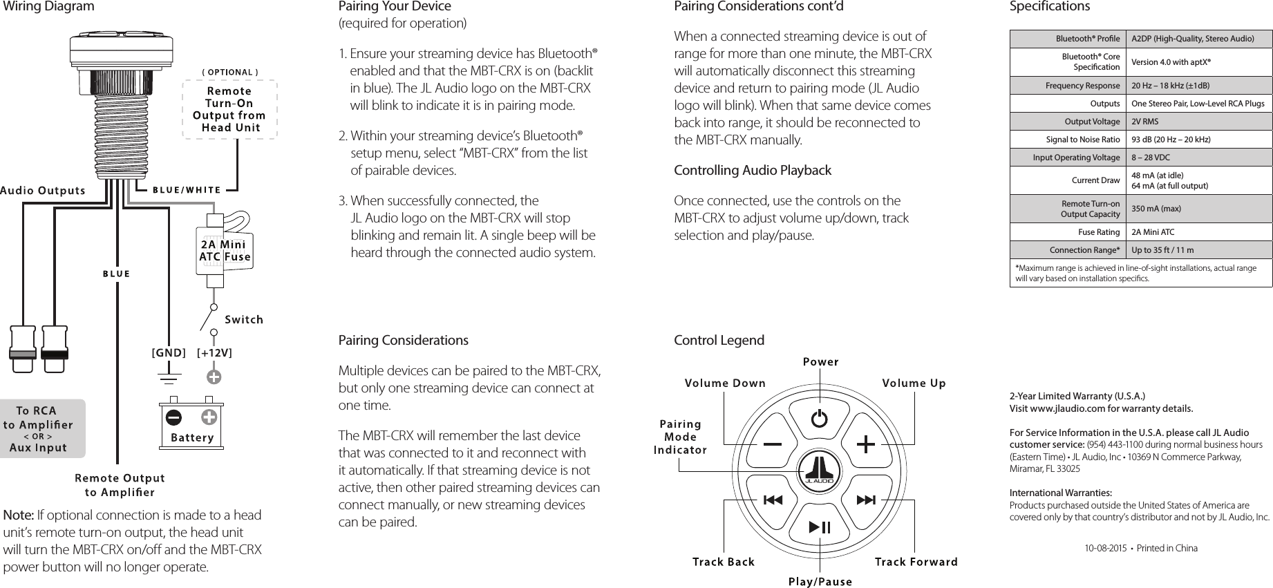 Jl Audio Mbt Crx Bluetooth Receiver User Manual Userman Wiring Diagram