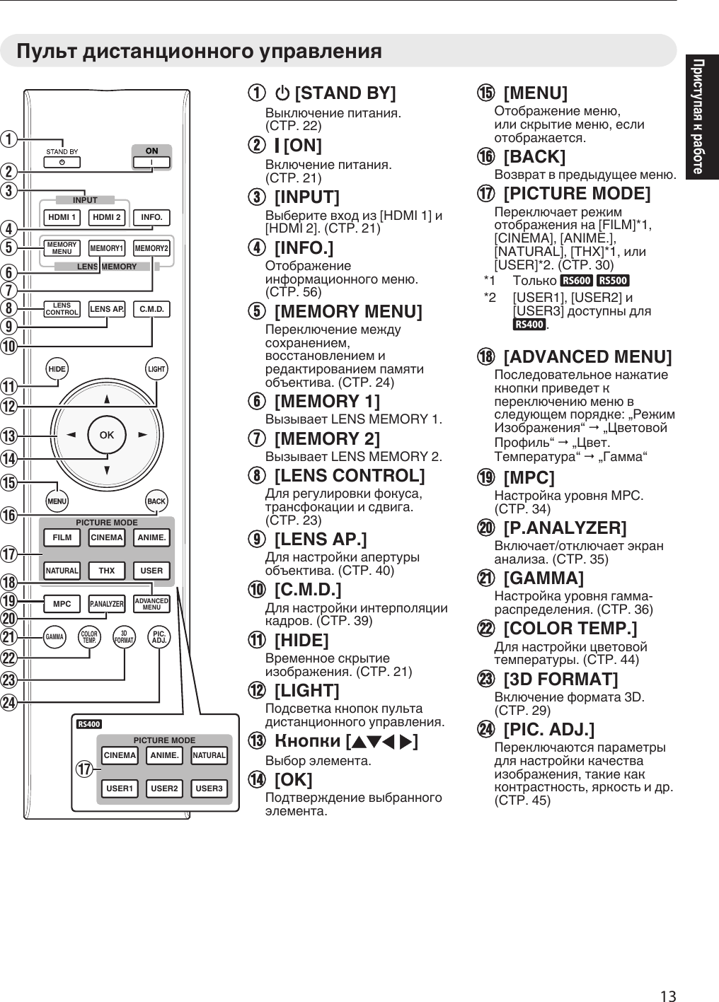JVC DLA RS400E RS600/DLA RS500/DLA RS400 User Manual RS400E