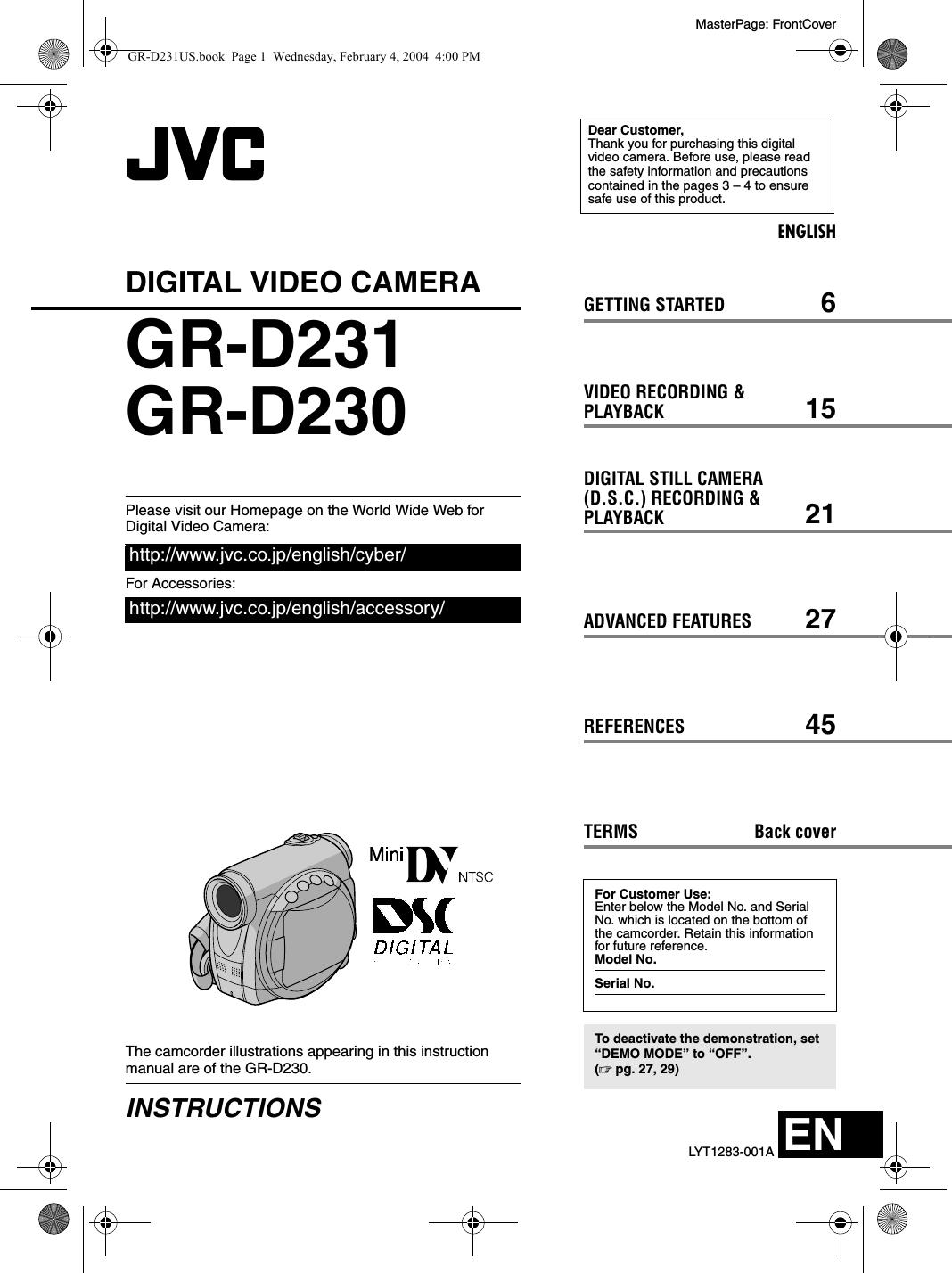 jvc gr d230us d231 230us user manual instructions lyt1283 001a rh usermanual wiki