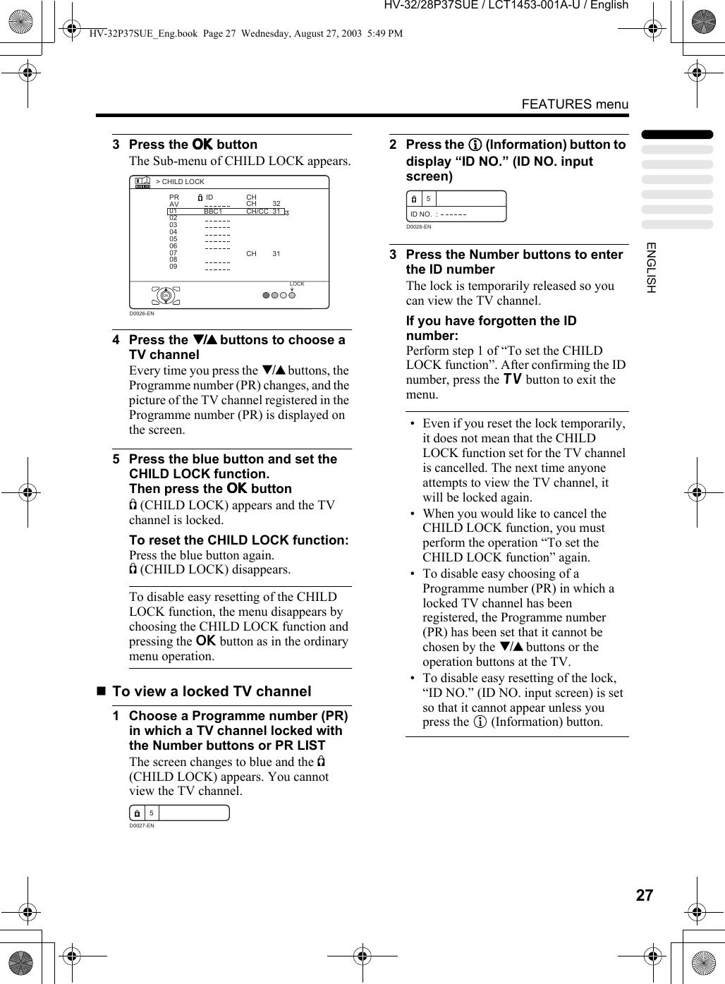 JVC HV 28P37SUE 32P37SUE/HV User Manual 28P37SUE, 32P37SUE