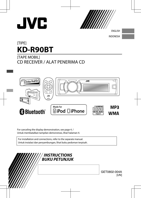 Jvc Kd R90btun R90bt User Manual Get0802 004a Audio Jack Music Bluetooth Receiver Tanpa Kabel