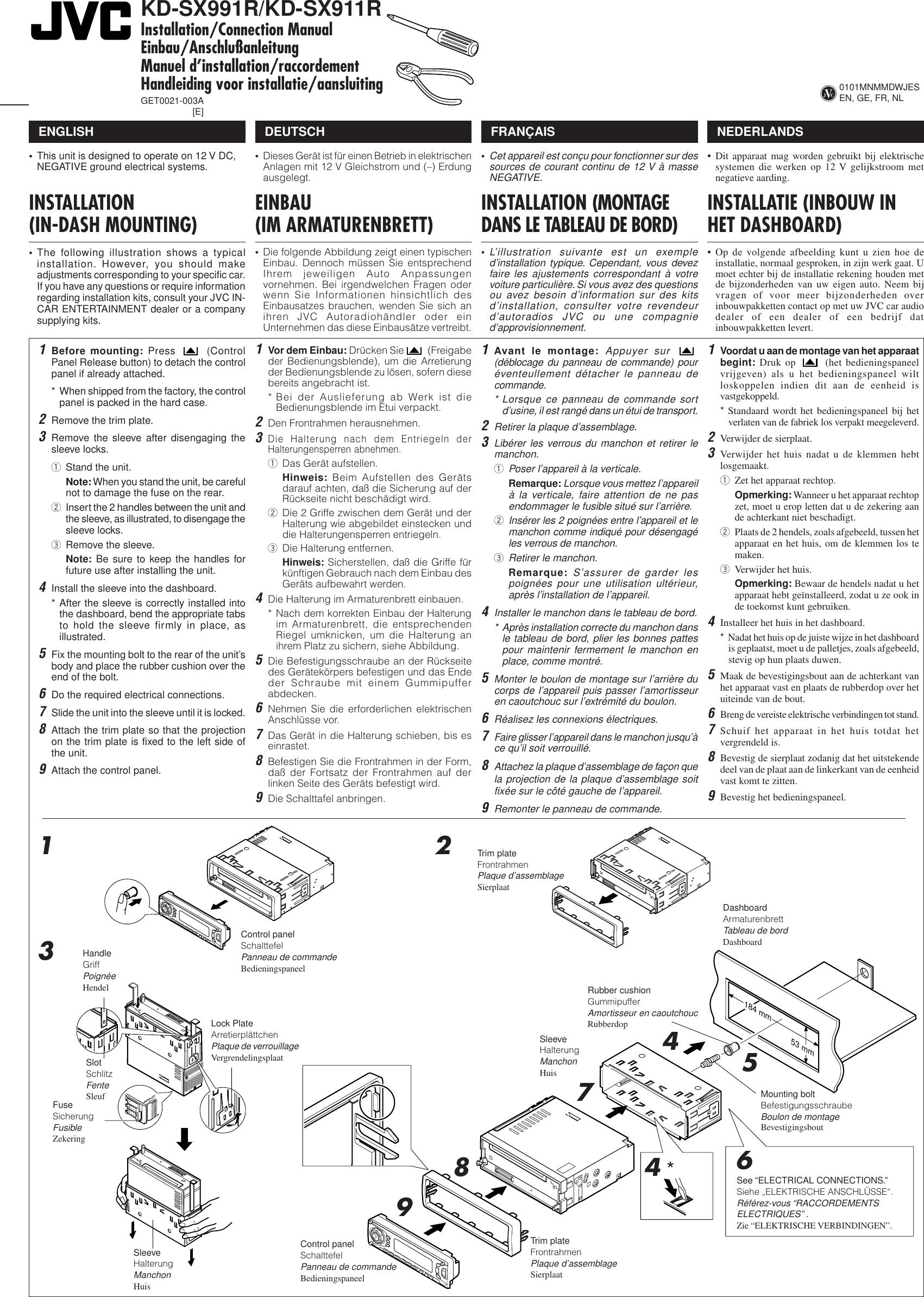 JVC KD SX911R SX991R/KD User Manual SX911R, SX991R GET0021 003A