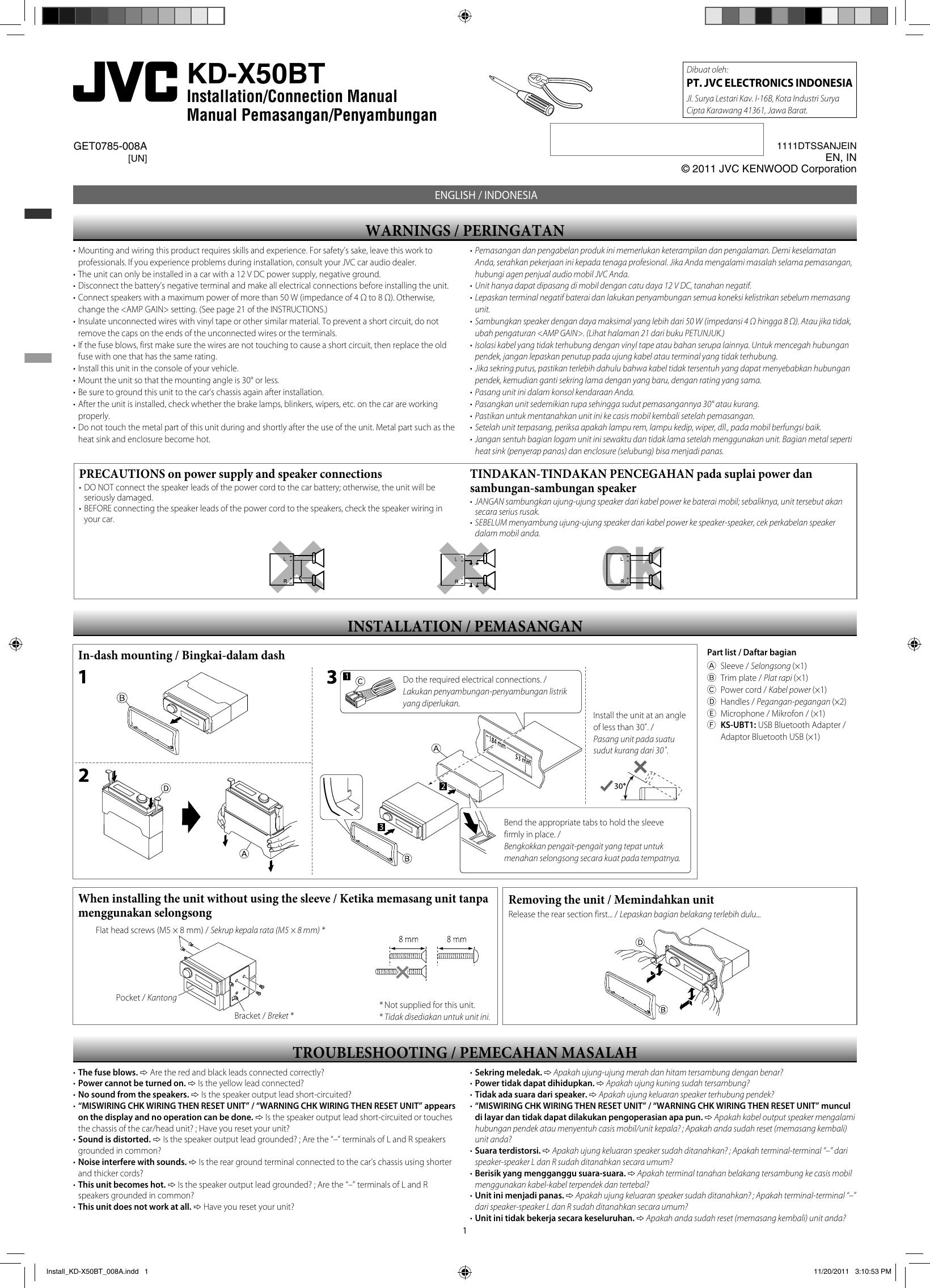 JVC KD X50BTUN X50BT User Manual GET0785 008A