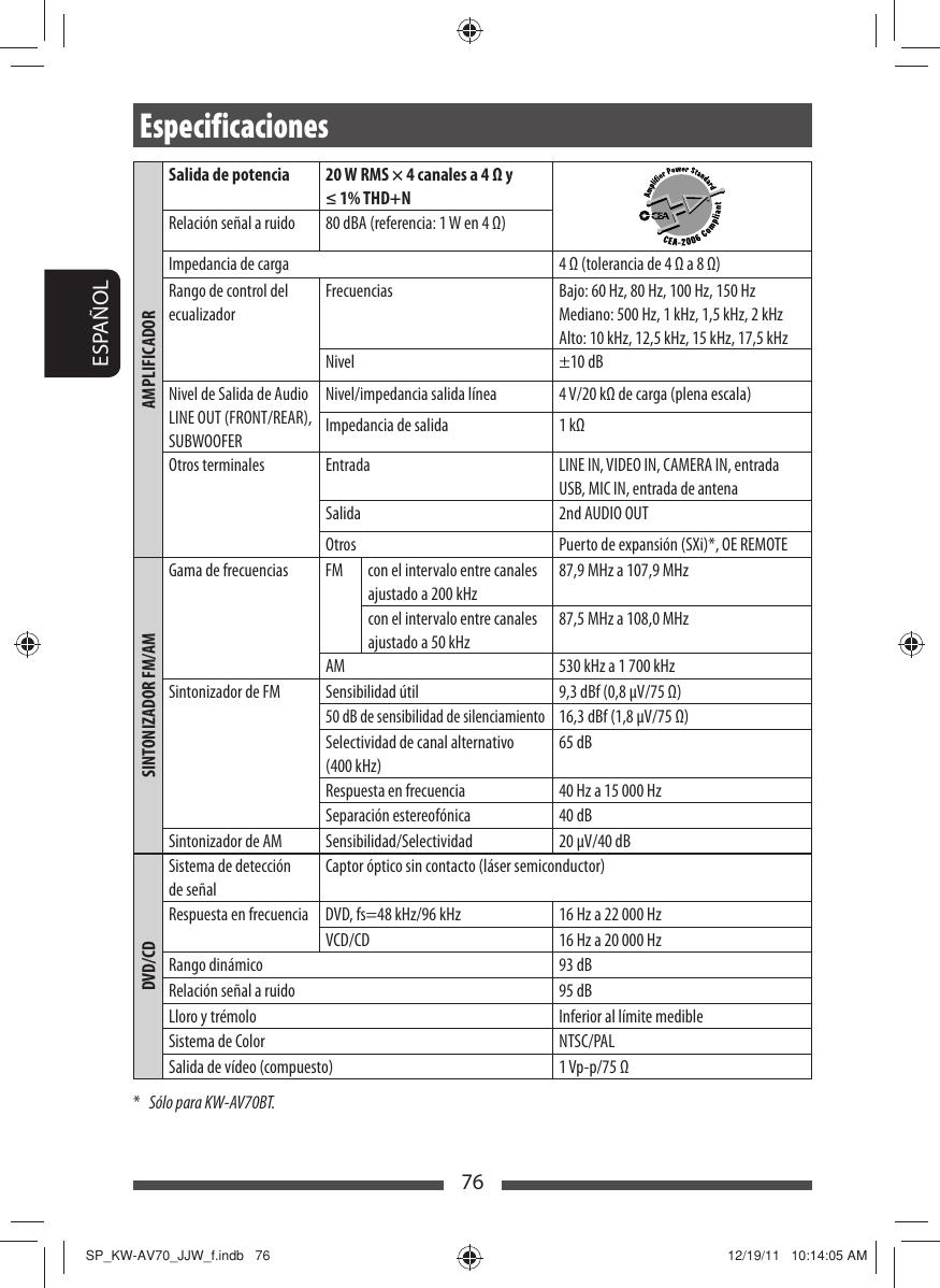 JVC KW AV70BTJ AV70BT/KW AV78BT[J/JW] User Manual AV70BTJ