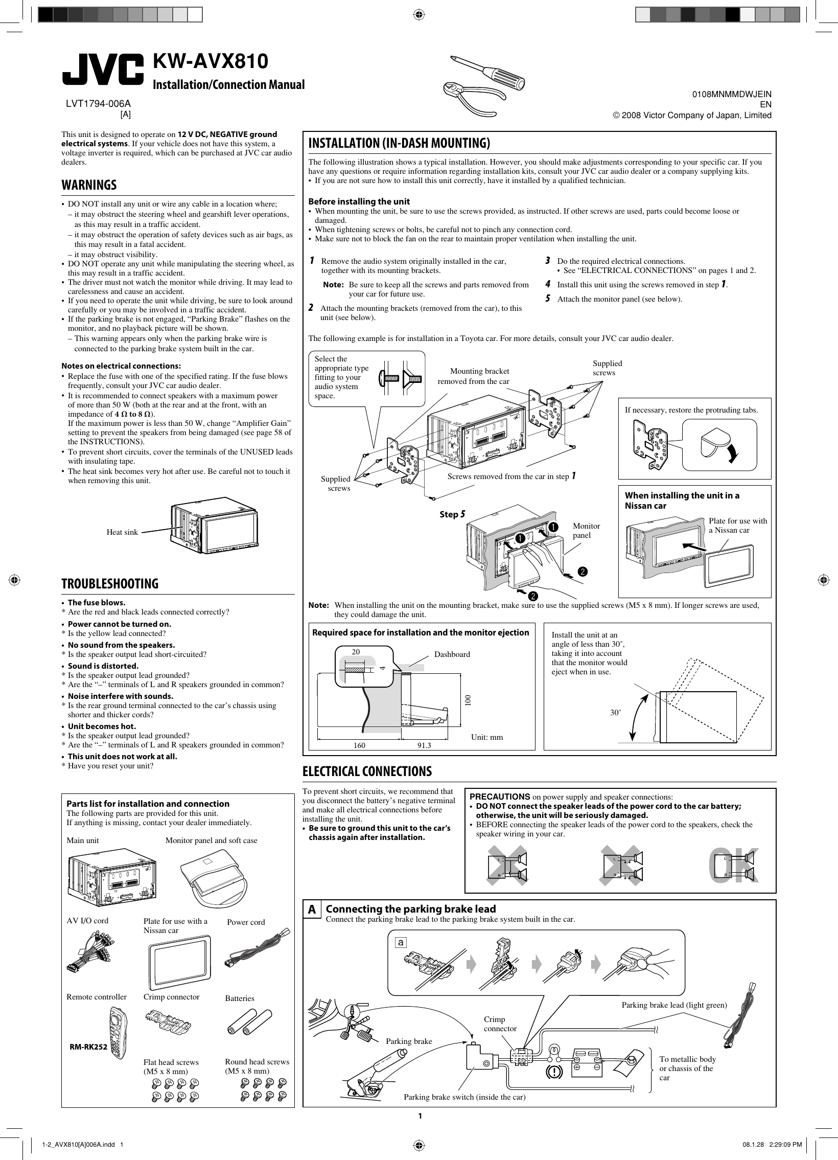 Jvc Kw Avx810 Wiring Diagram Free Download Arsenal Avx810a A Installation User Manual Lvt1794 006a