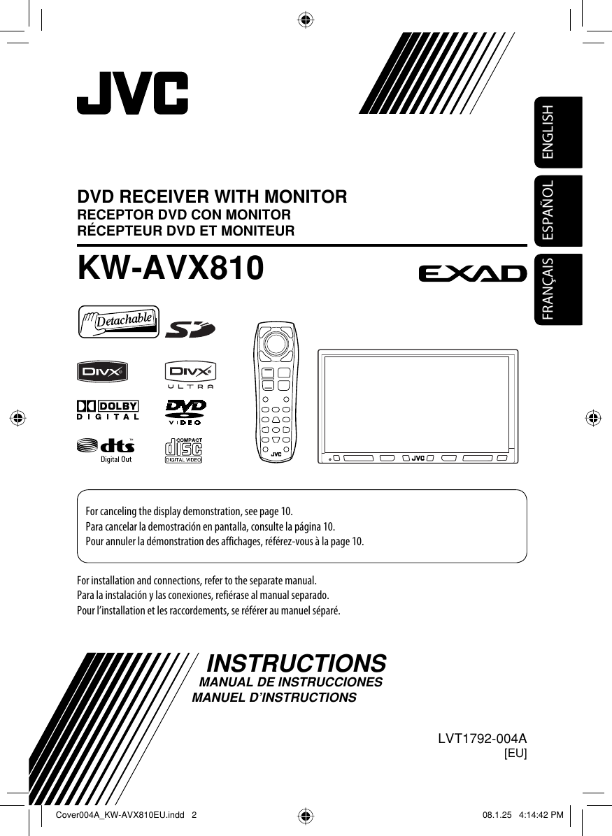 JVC KW AVX810EU AVX810 EU Instructions User Manual ...