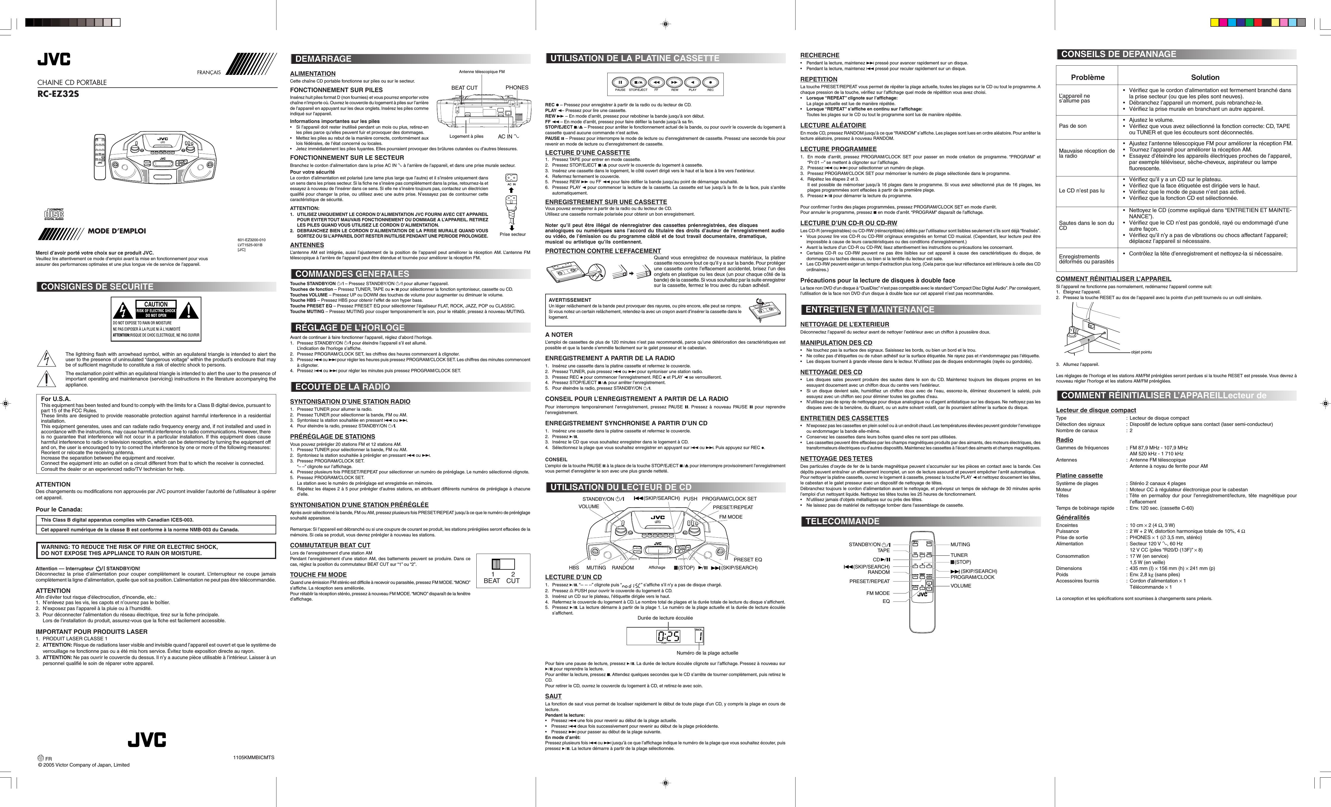 Jvc rc ez32sc ez32s user manual instructions lvt1525 001b.