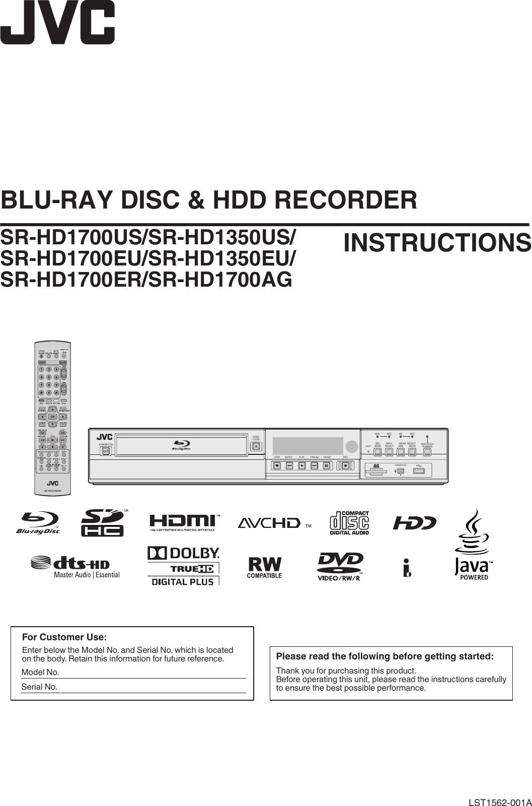 JVC SR HD1350EU HD1700series,SR HD1350series User Manual