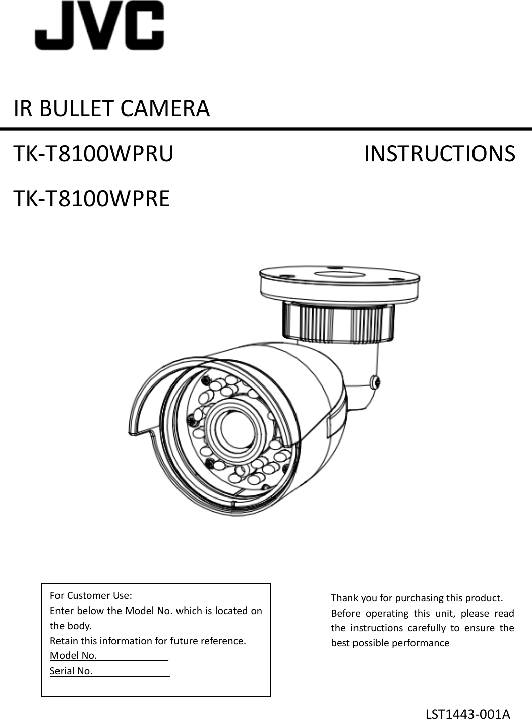 JVC TK T8100WPRE T8100WPRU,TK User Manual T8100WPRE, T8100WPRU ...