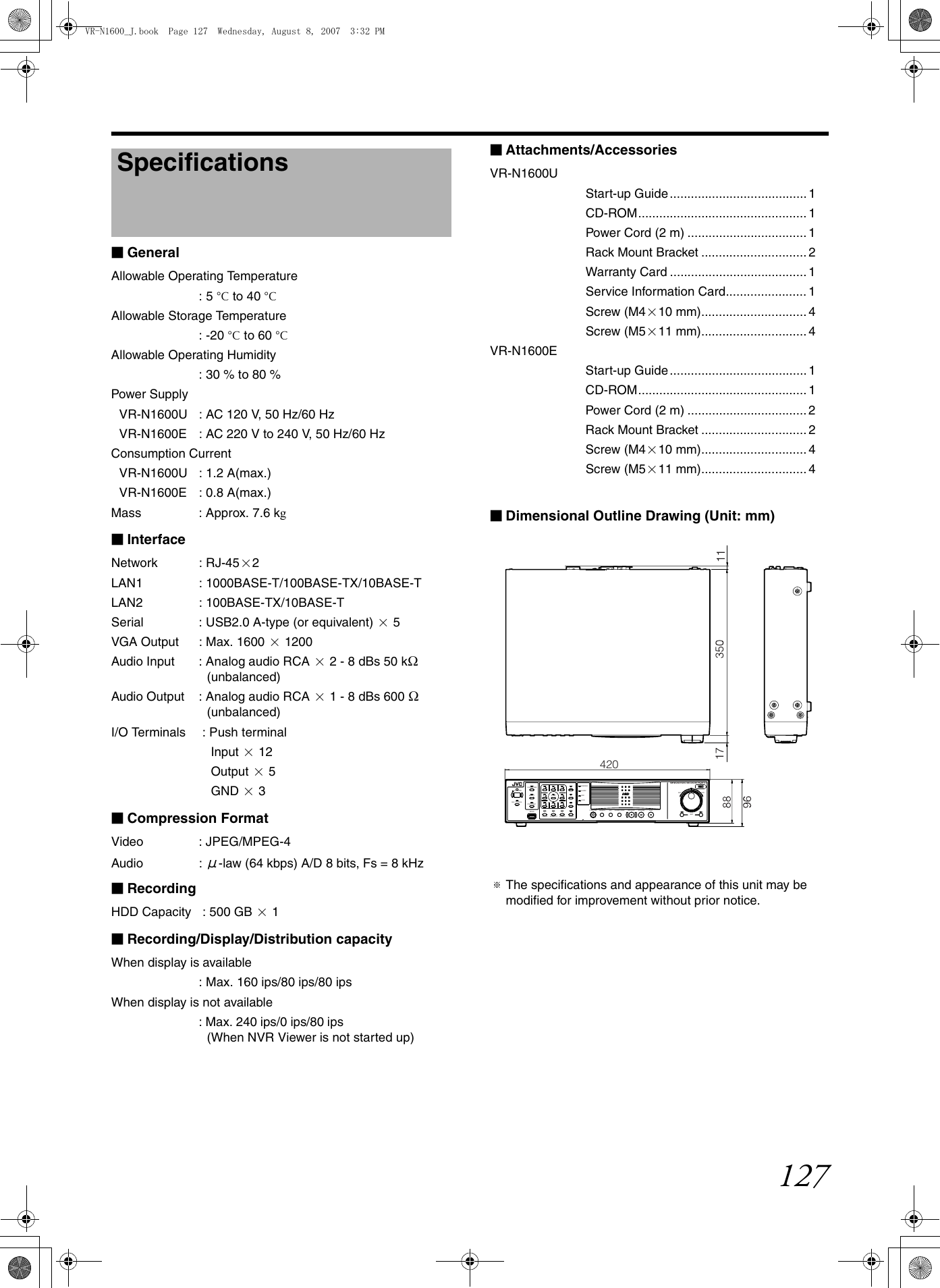 JVC VR N1600E N1600U_E User Manual N1600E, N1600U LST0603 001A
