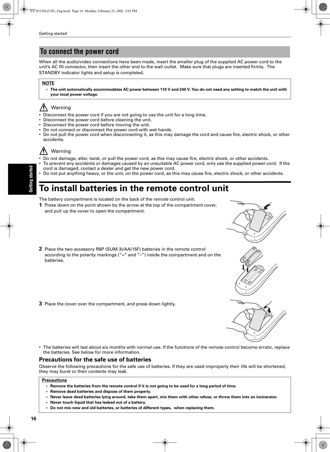 JVC XV S332SL GNT0013 005B User Manual