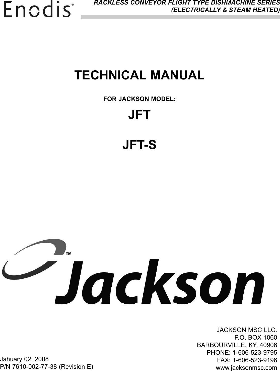 Jackson Dishwasher Jft Users Manual 7610 002 77 38e_ Jft_jft ... on