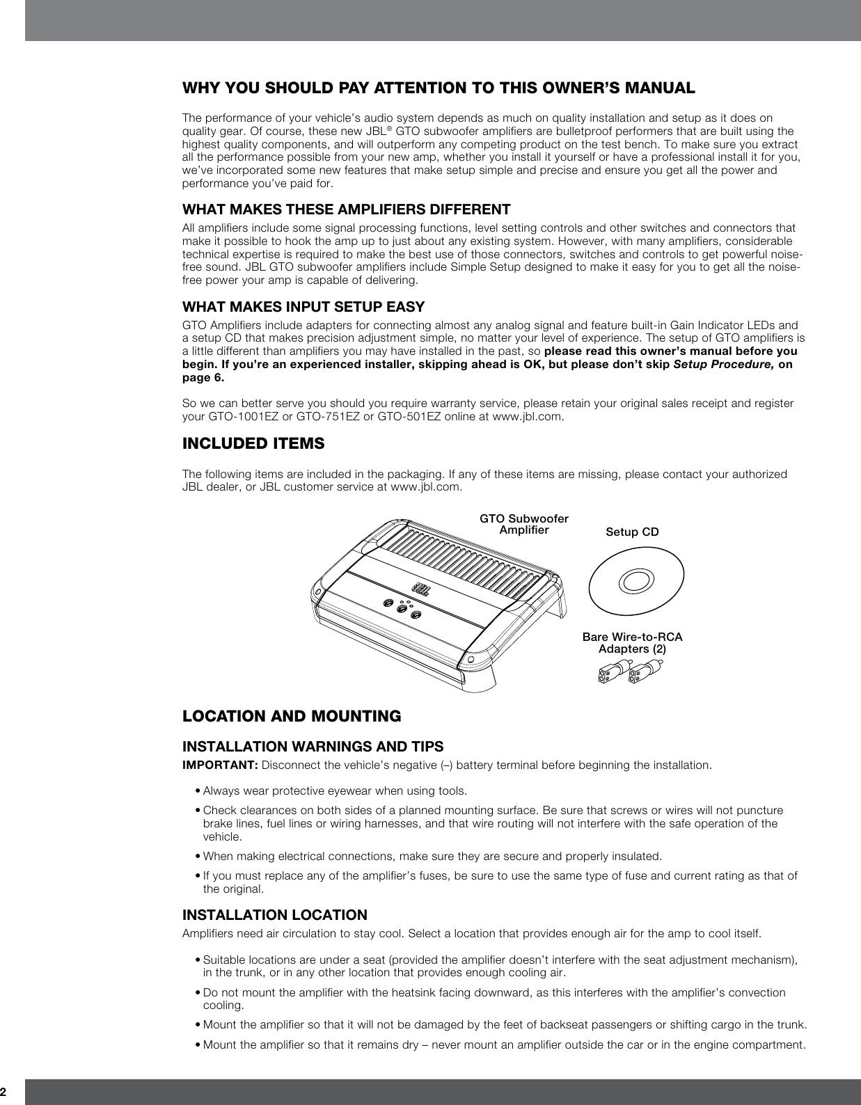 page 2 of 11 - jbl jbl-gto-1001ez-users-manual-
