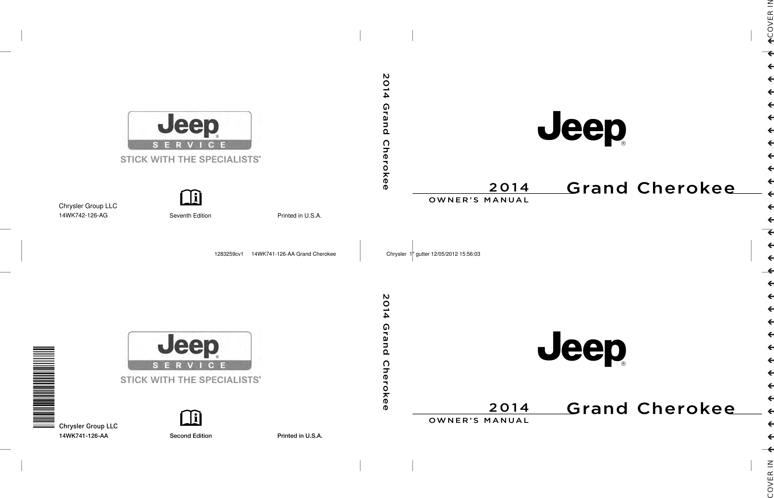 Jeep 2014 Grand Cherokee Srt Owners Manual Owner's