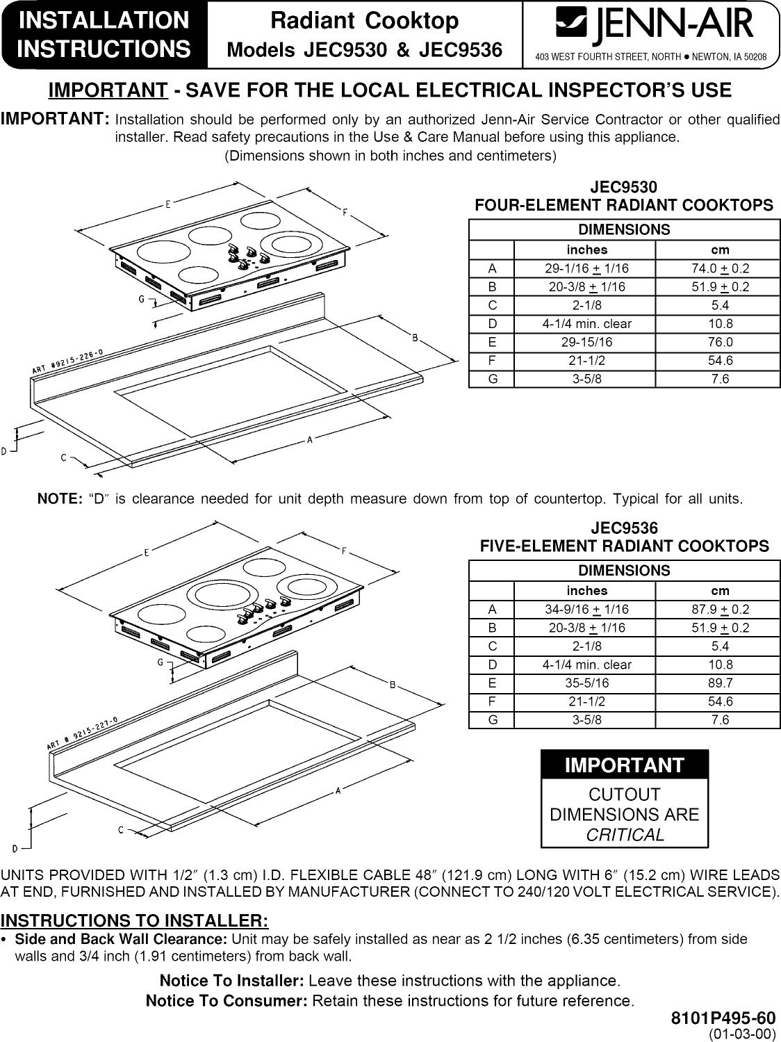 Jenn Air Jec9536bdb13 User Manual 36 Electric Cooktop Manuals And Stove Wiring Diagram Page 1 Of 6