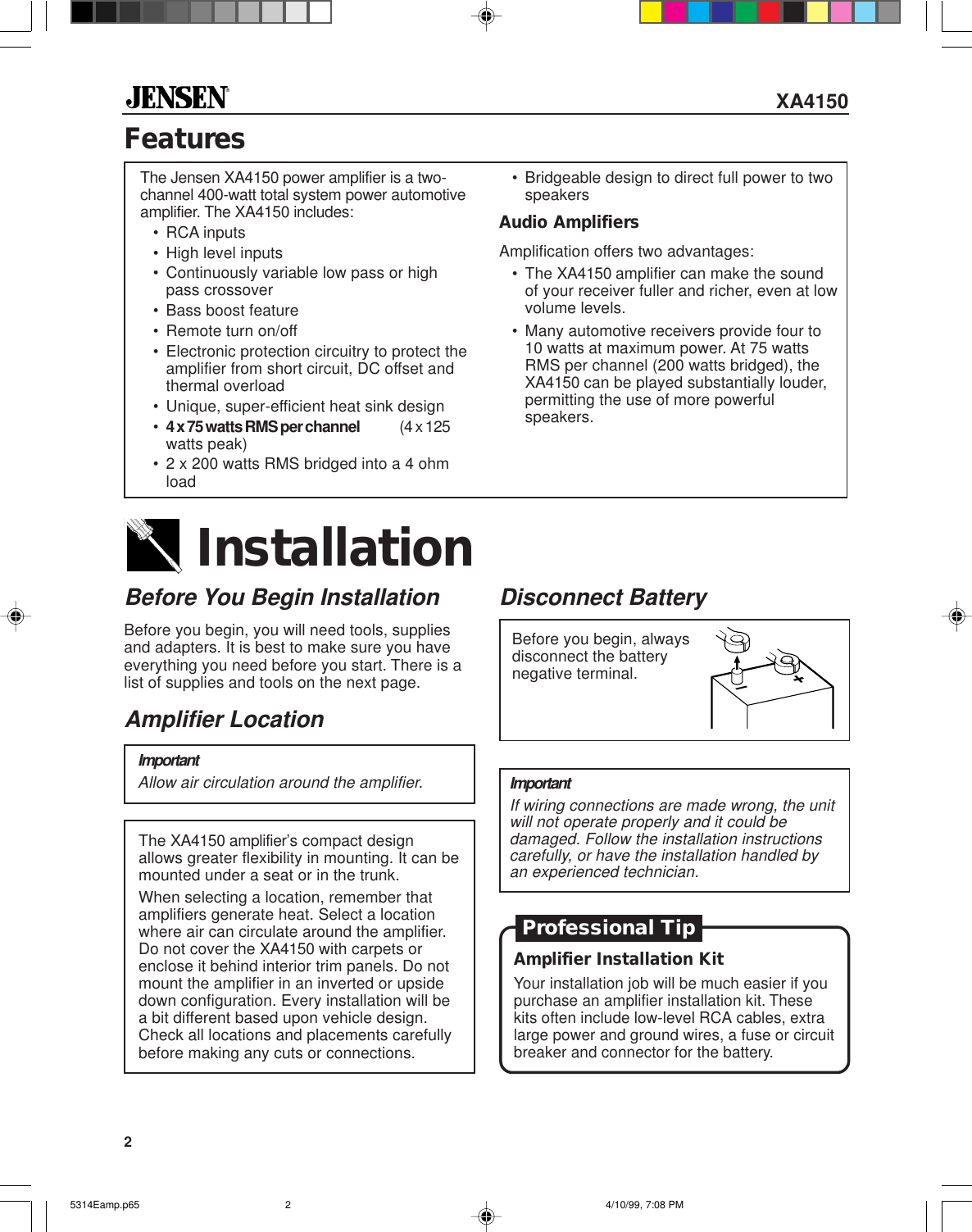 Jensen Xa4150 Users Manual 5314eampp65 Wiring Add The 2 Speakers Impedance Together For Parallel Page Of 12 5314eamp